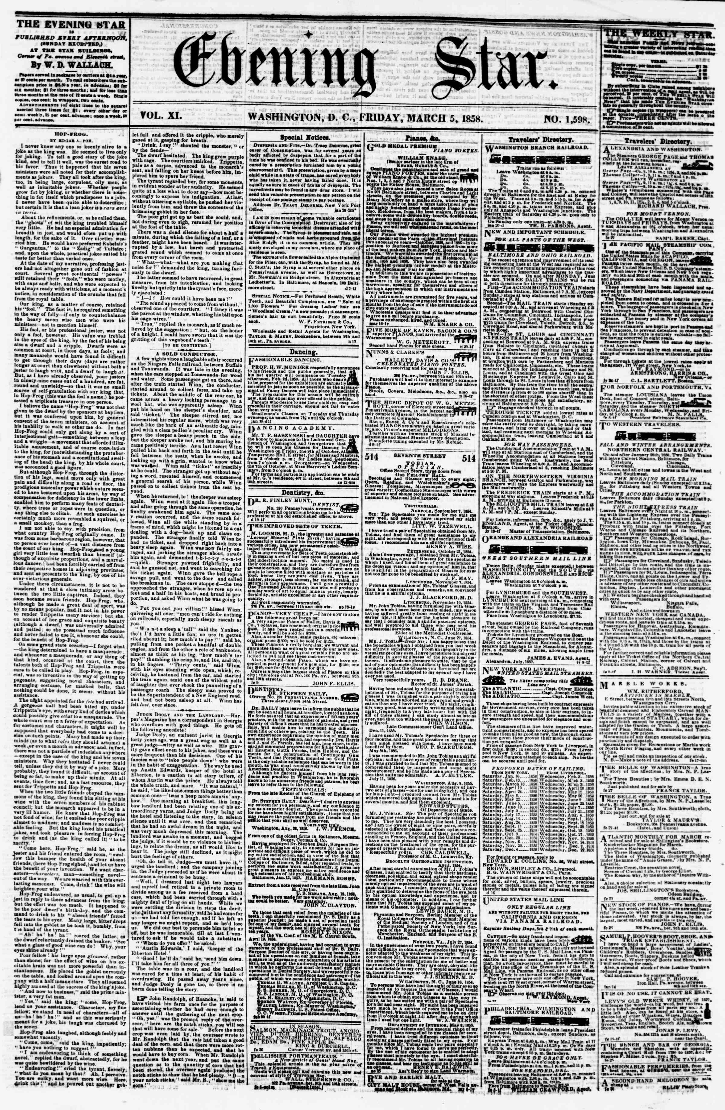 5 Mart 1858 tarihli Evening Star Gazetesi Sayfa 1