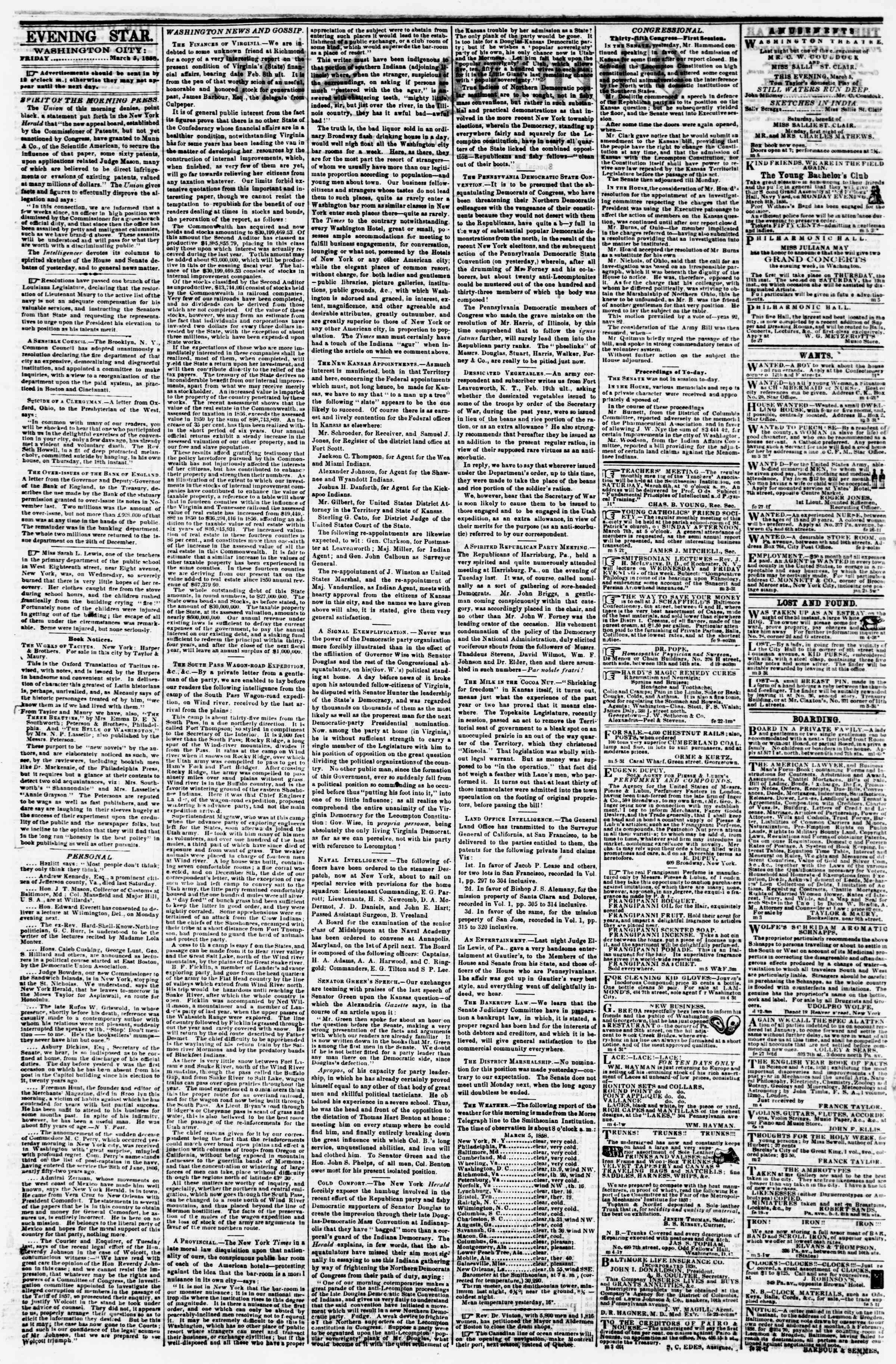 Newspaper of Evening Star dated March 5, 1858 Page 2