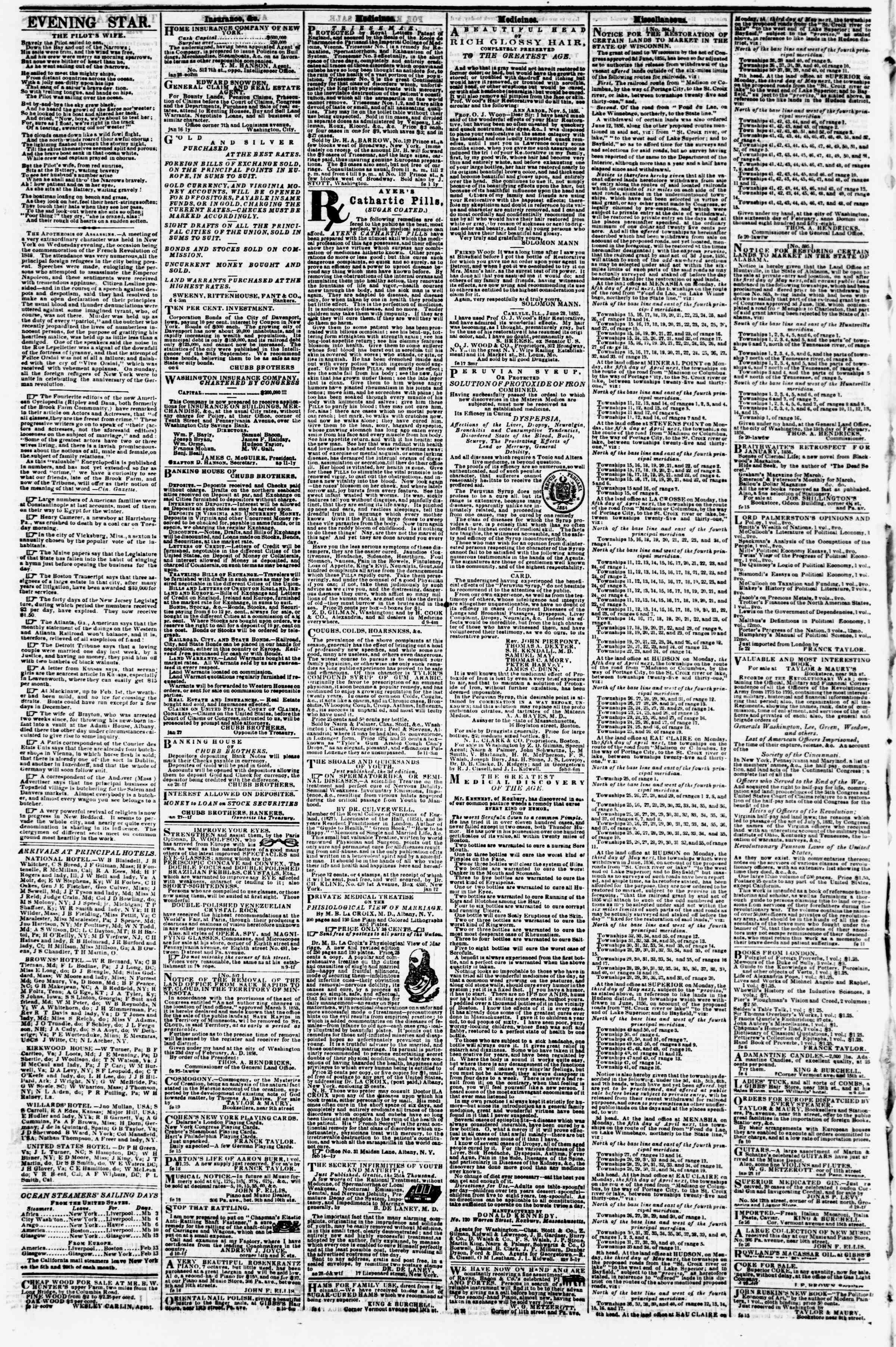 Newspaper of Evening Star dated March 5, 1858 Page 4