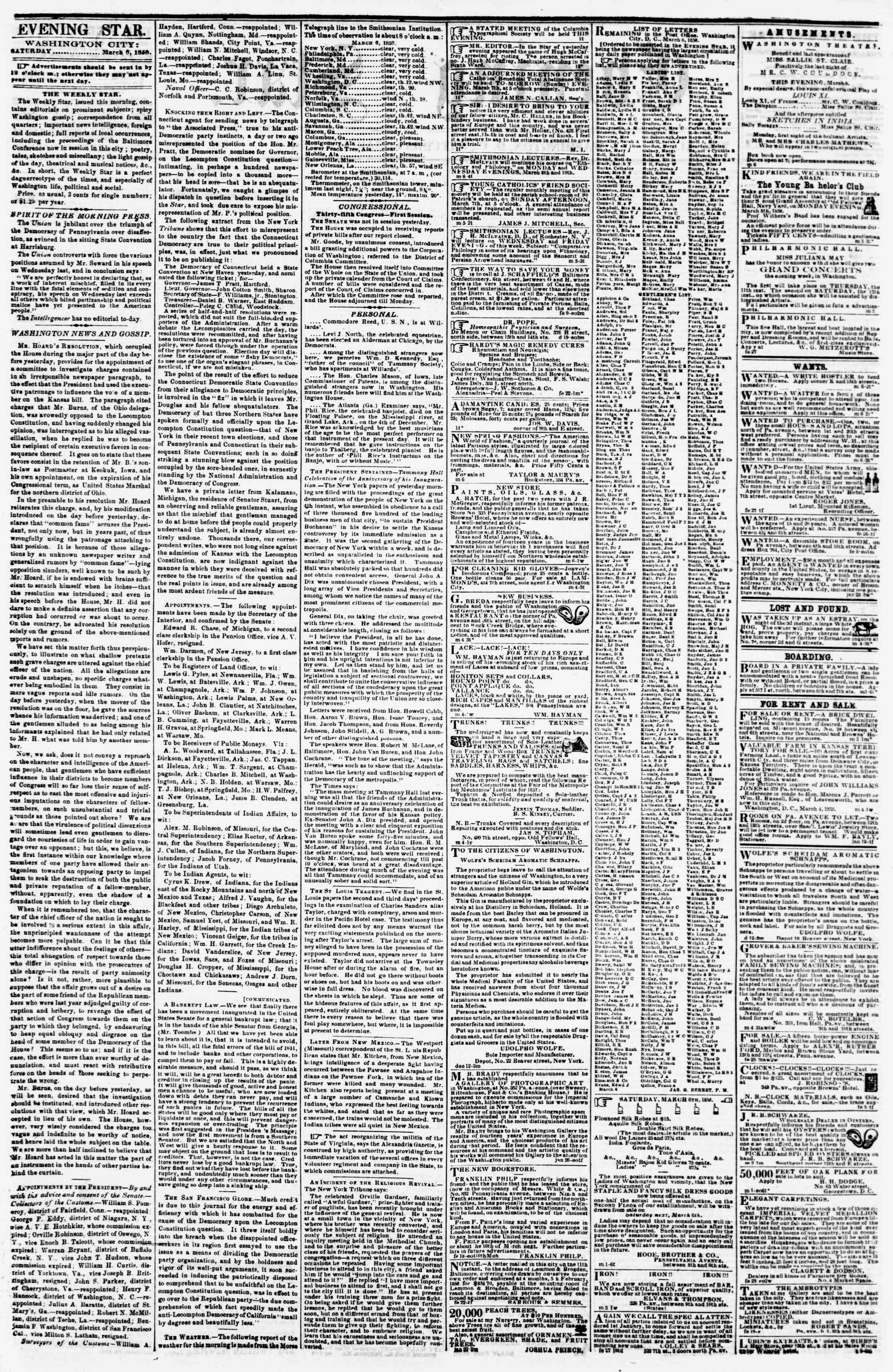 Newspaper of Evening Star dated 6 Mart 1858 Page 2