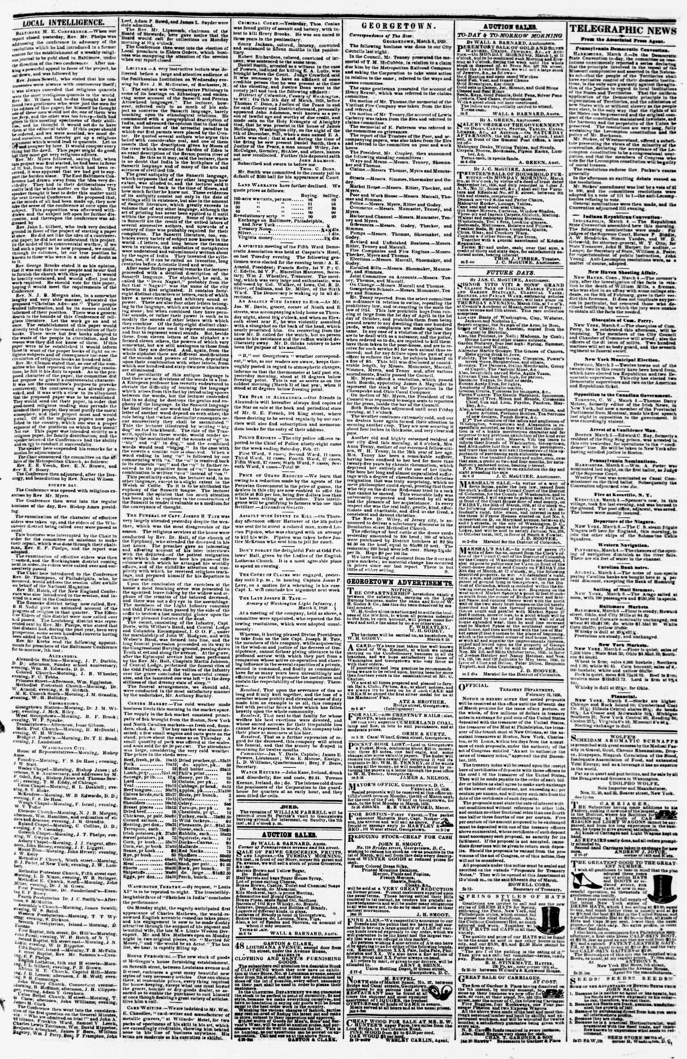 Newspaper of Evening Star dated March 6, 1858 Page 3