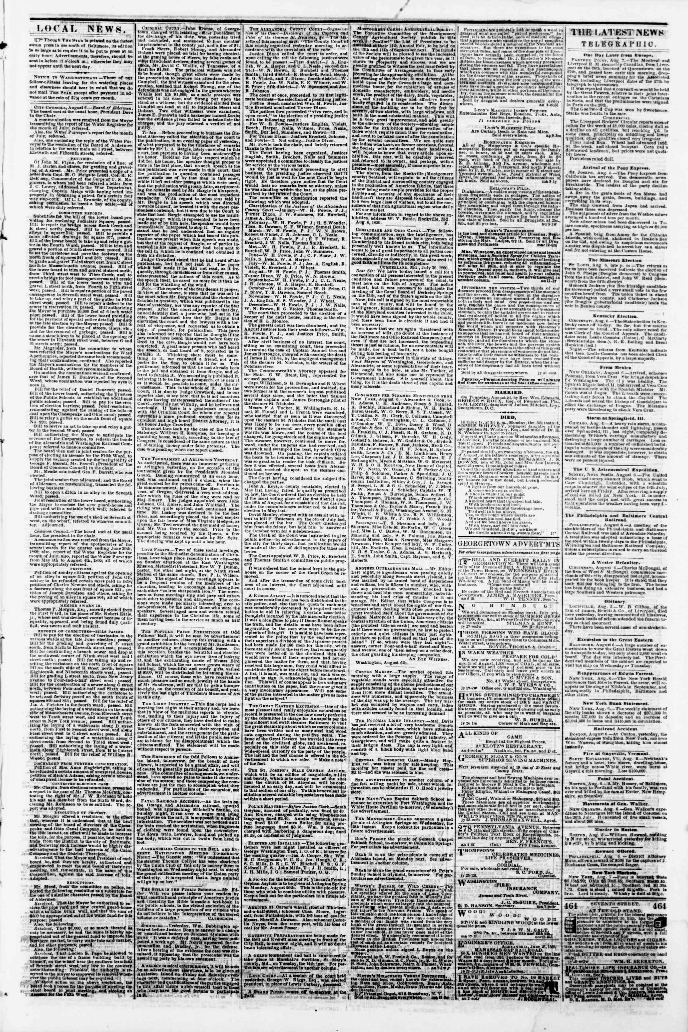 Newspaper of Evening Star dated August 7, 1860 Page 3