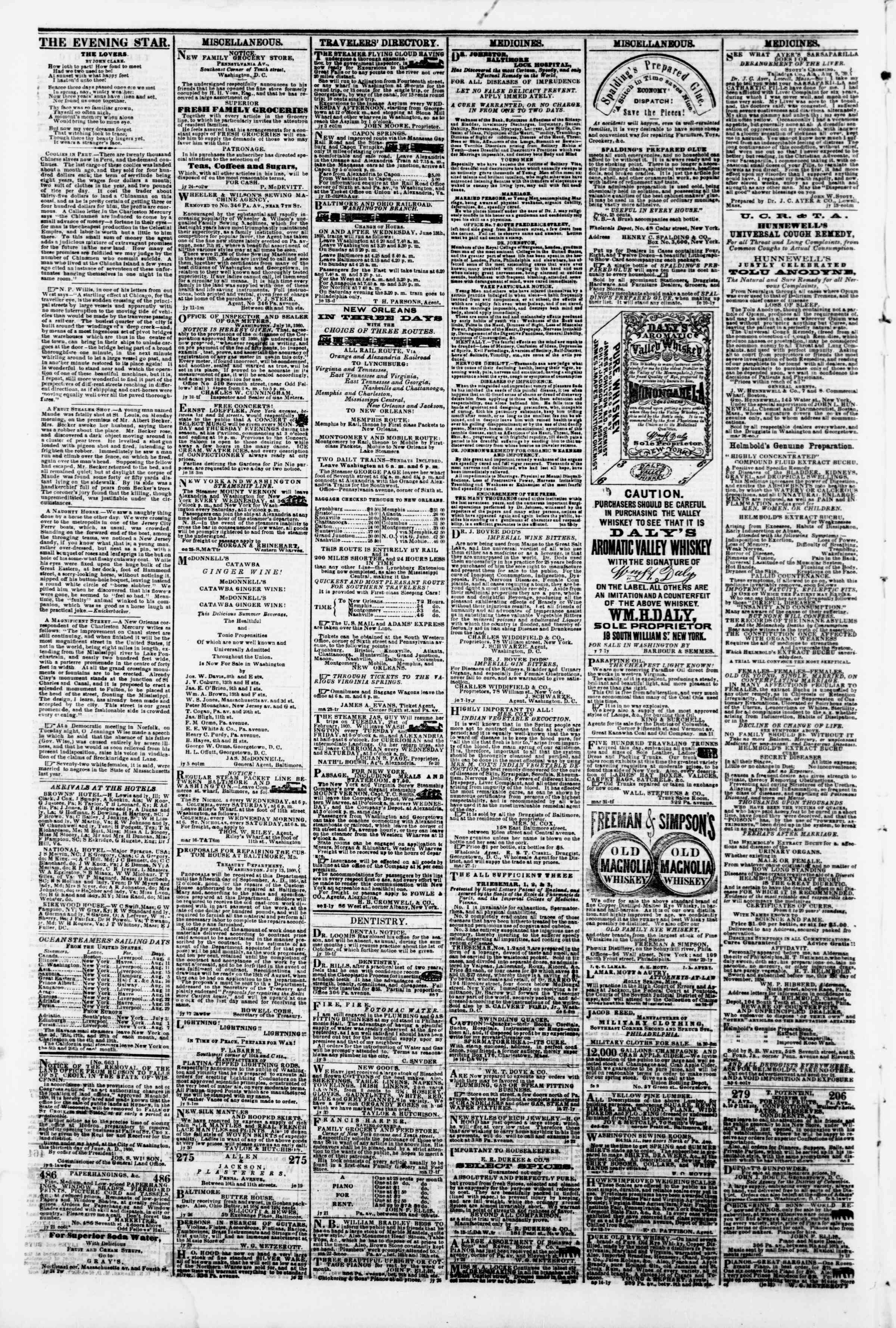 Newspaper of Evening Star dated August 7, 1860 Page 4