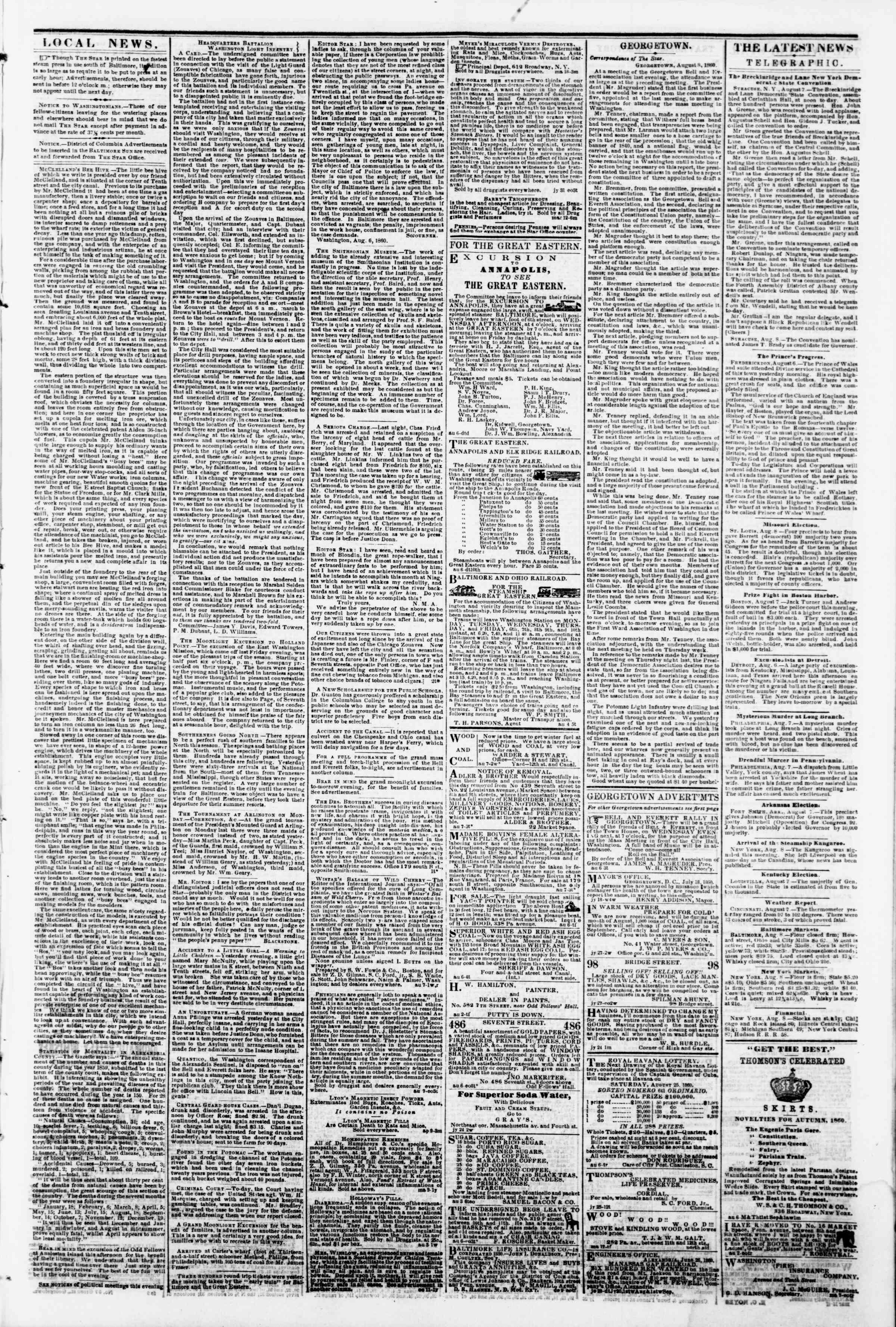 Newspaper of Evening Star dated August 8, 1860 Page 3