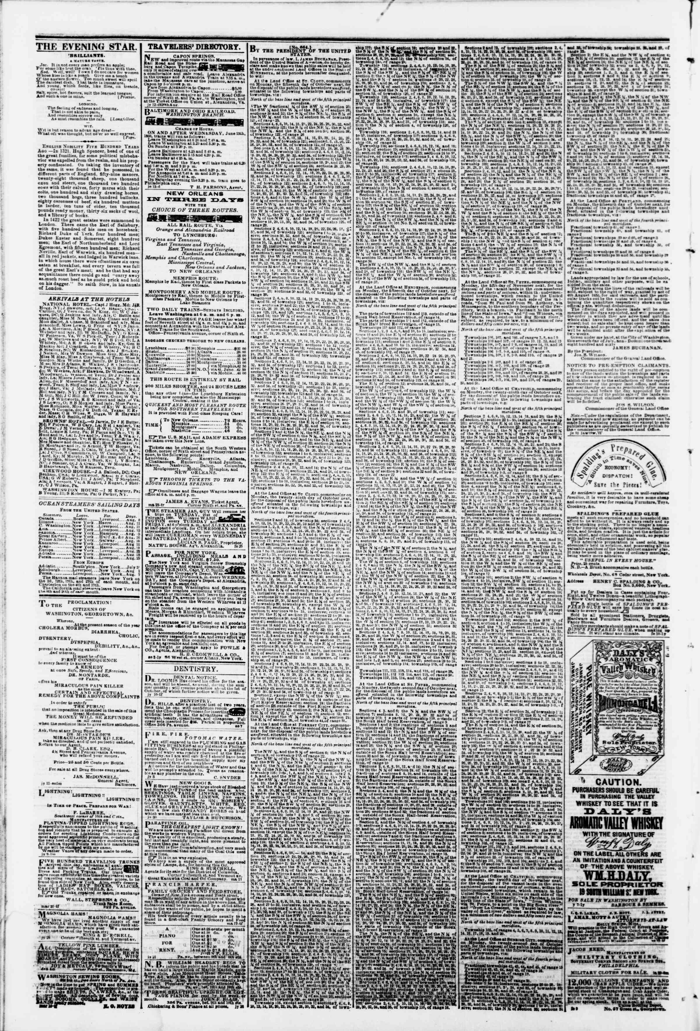 Newspaper of Evening Star dated August 8, 1860 Page 4