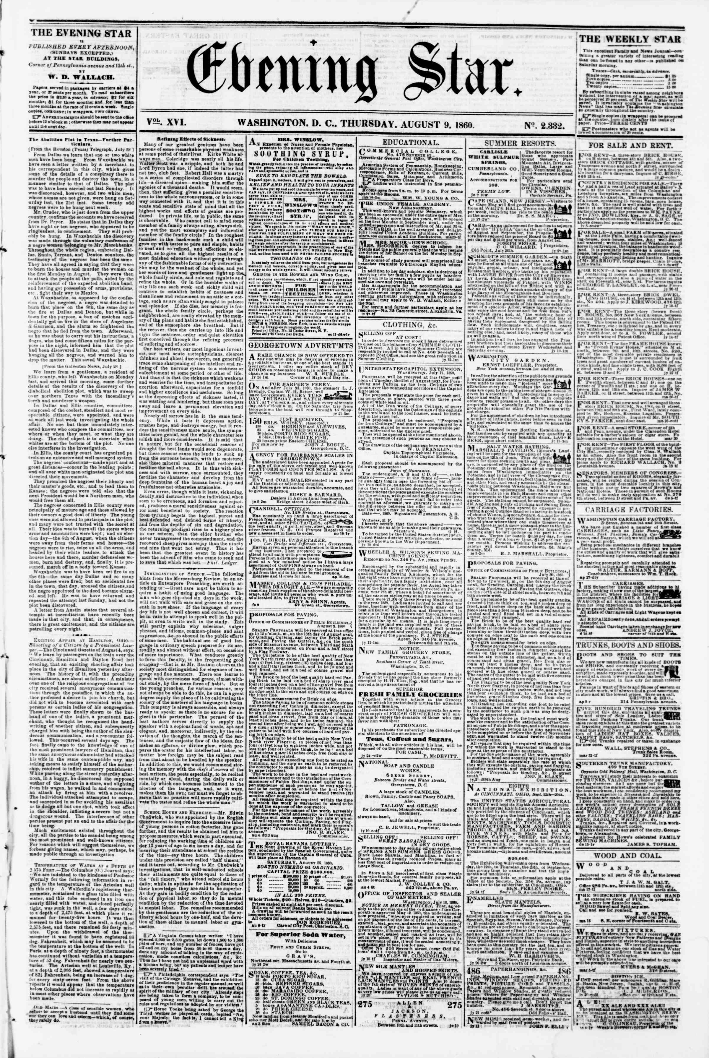 Newspaper of Evening Star dated August 9, 1860 Page 1
