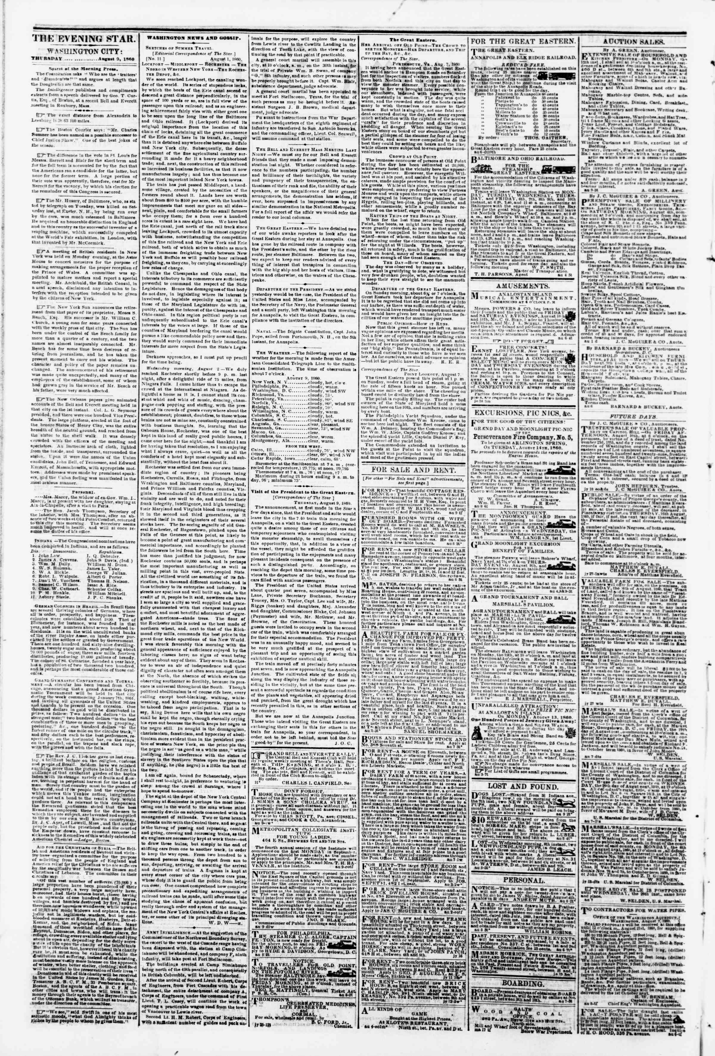 Newspaper of Evening Star dated August 9, 1860 Page 2