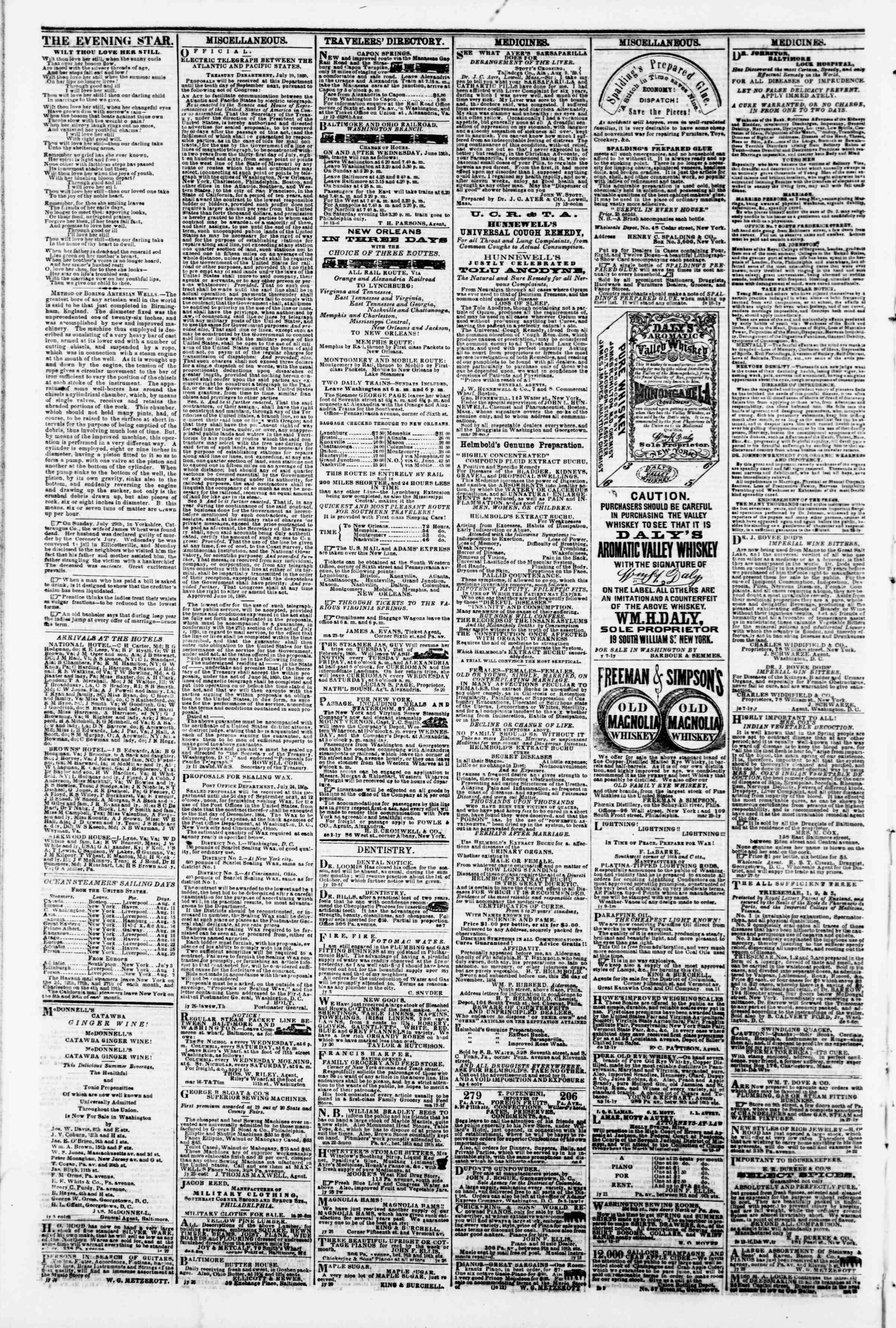 Newspaper of Evening Star dated August 9, 1860 Page 4