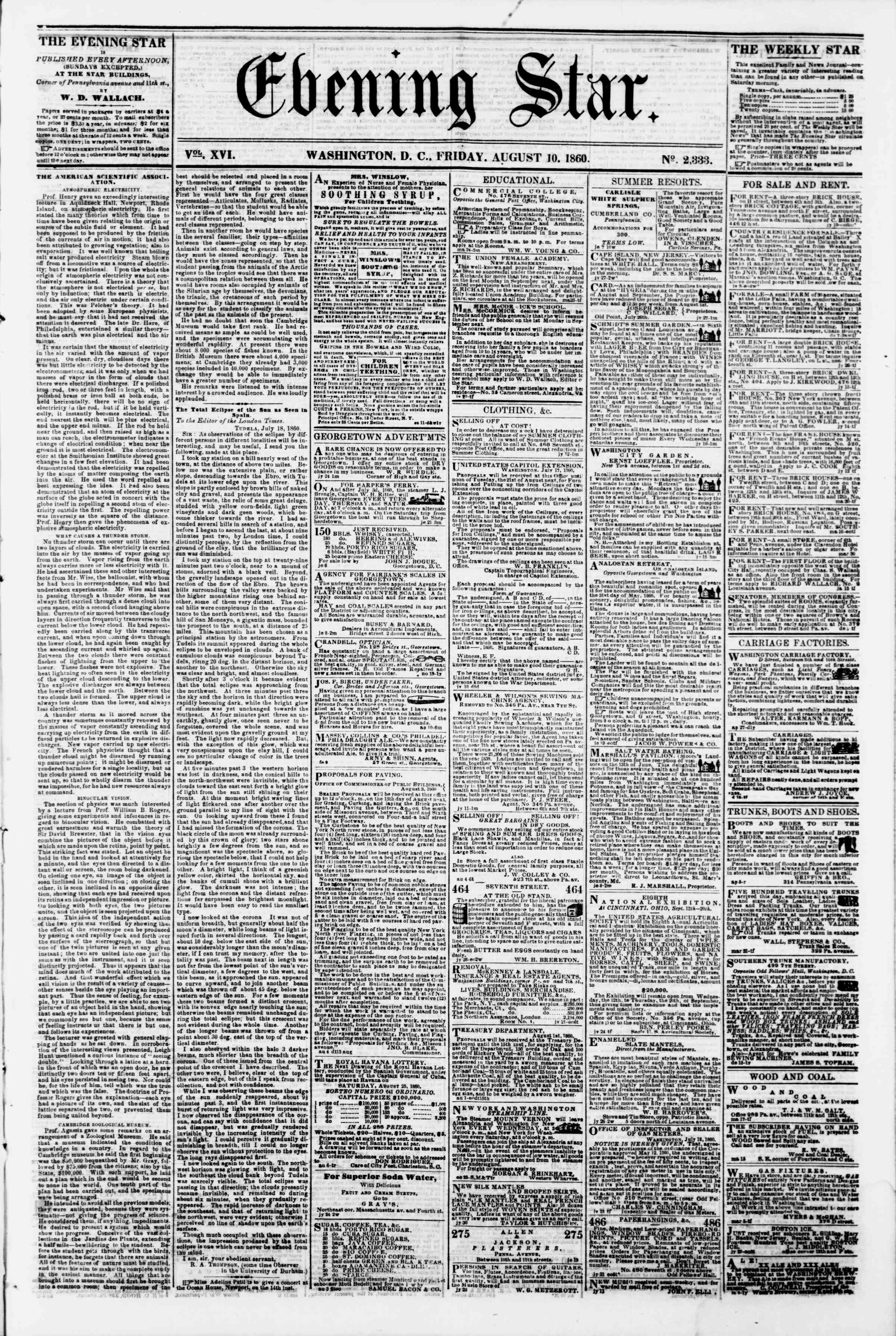 Newspaper of Evening Star dated August 10, 1860 Page 1