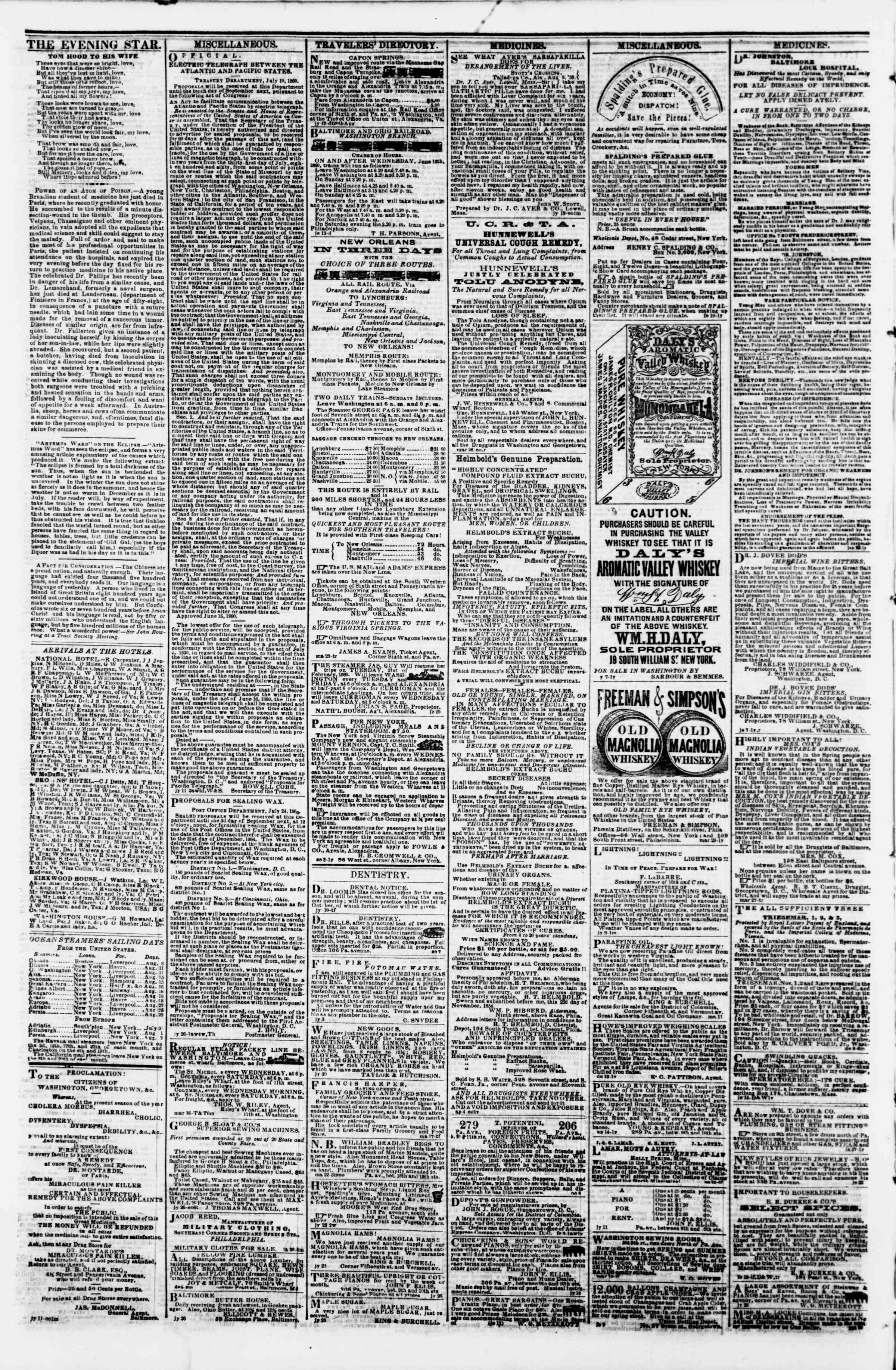 Newspaper of Evening Star dated August 10, 1860 Page 4