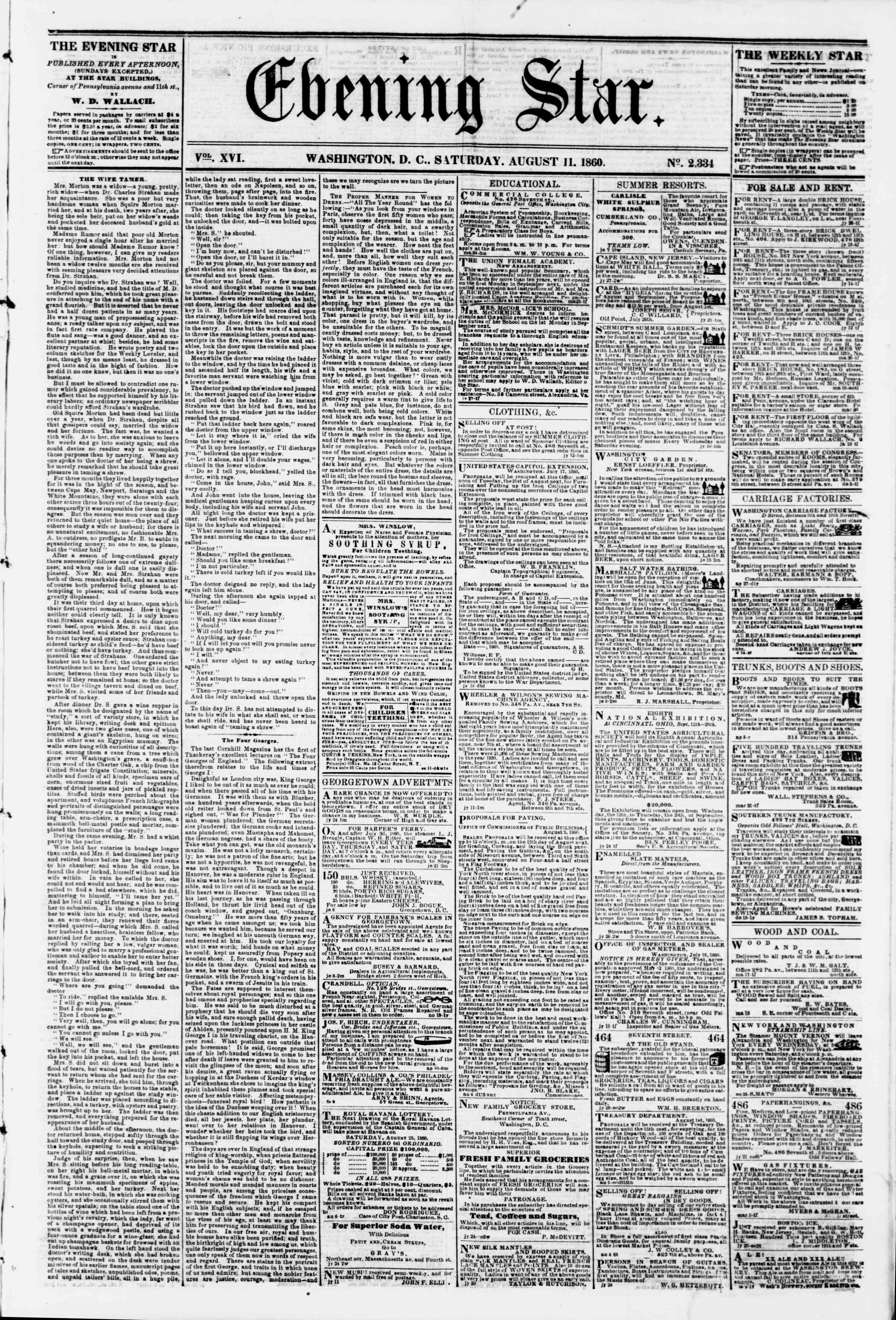 Newspaper of Evening Star dated August 11, 1860 Page 1