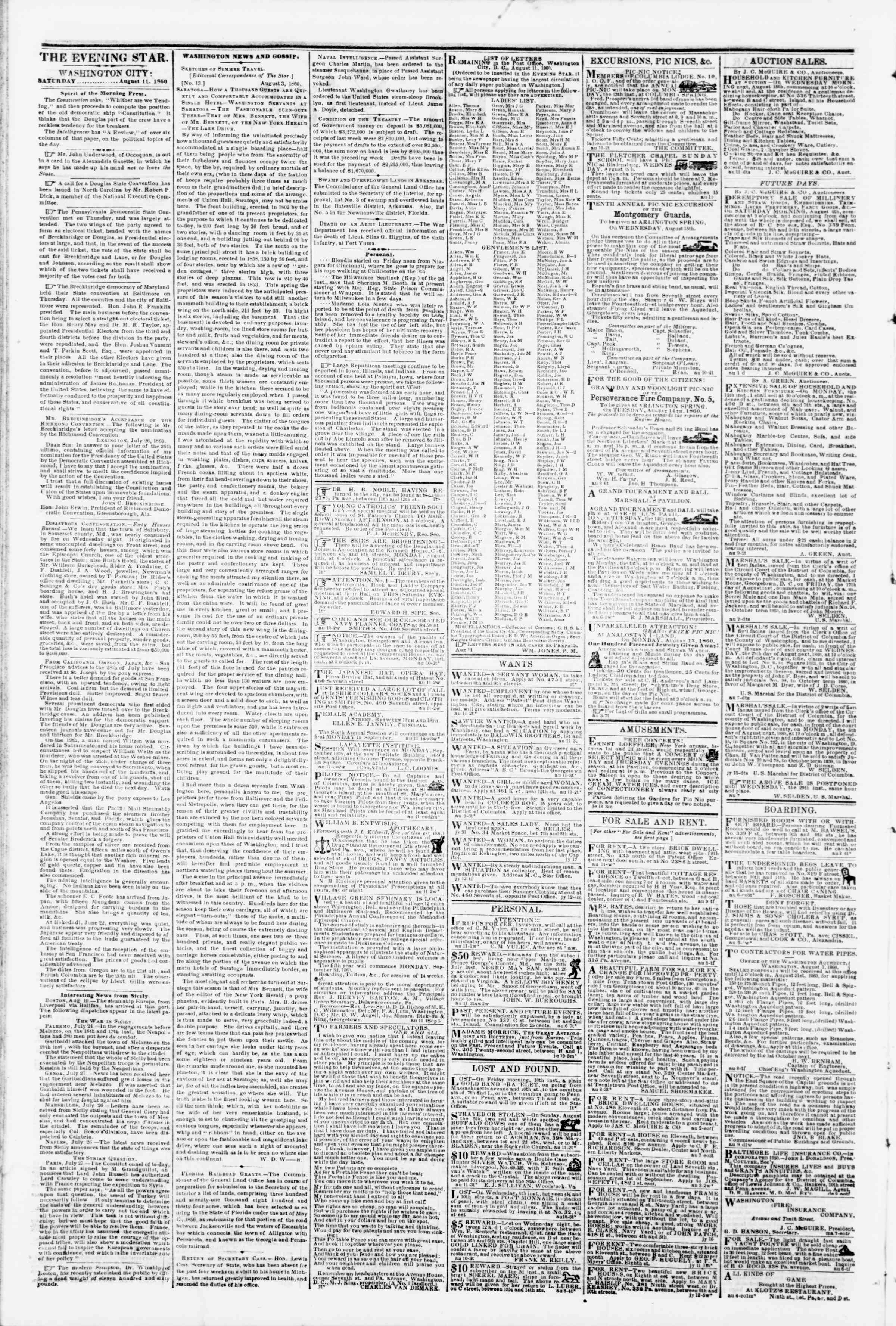 Newspaper of Evening Star dated August 11, 1860 Page 2