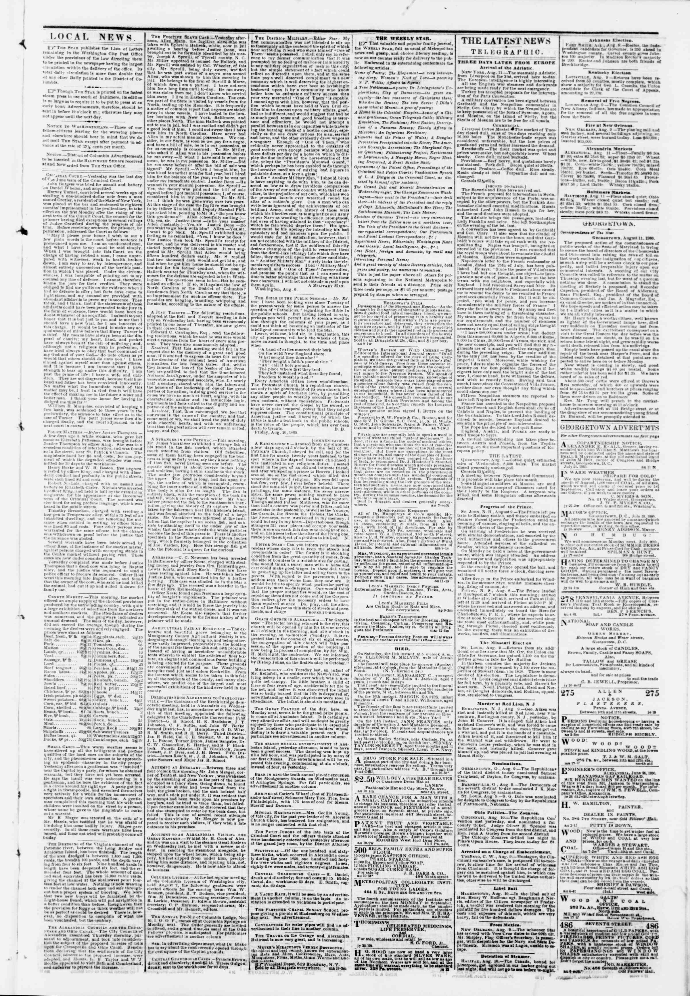 Newspaper of Evening Star dated August 11, 1860 Page 3