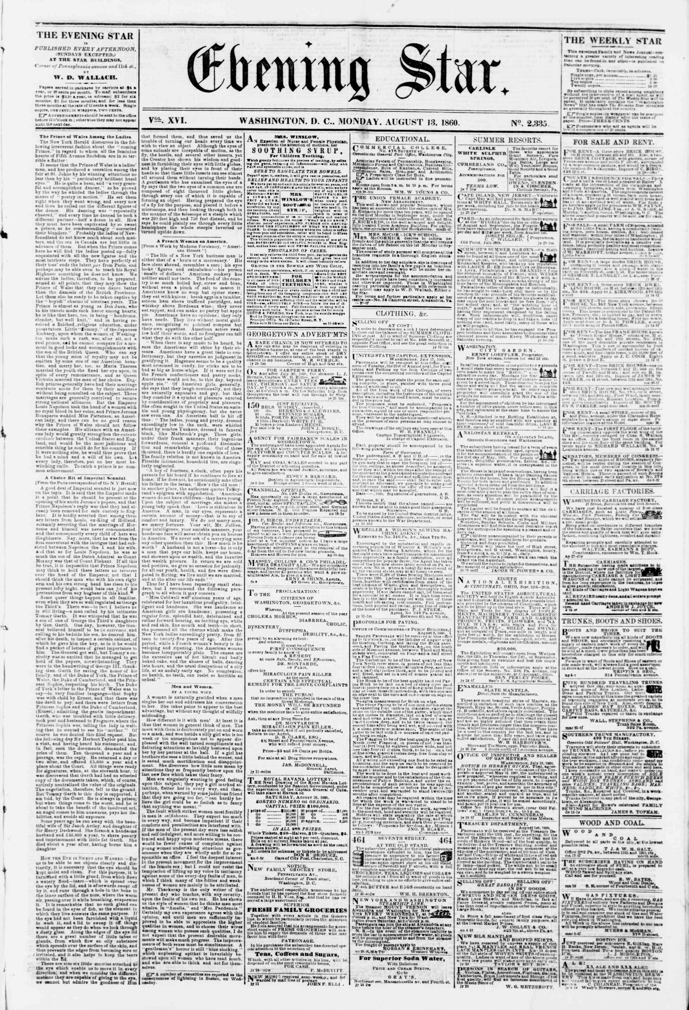 Newspaper of Evening Star dated August 13, 1860 Page 1