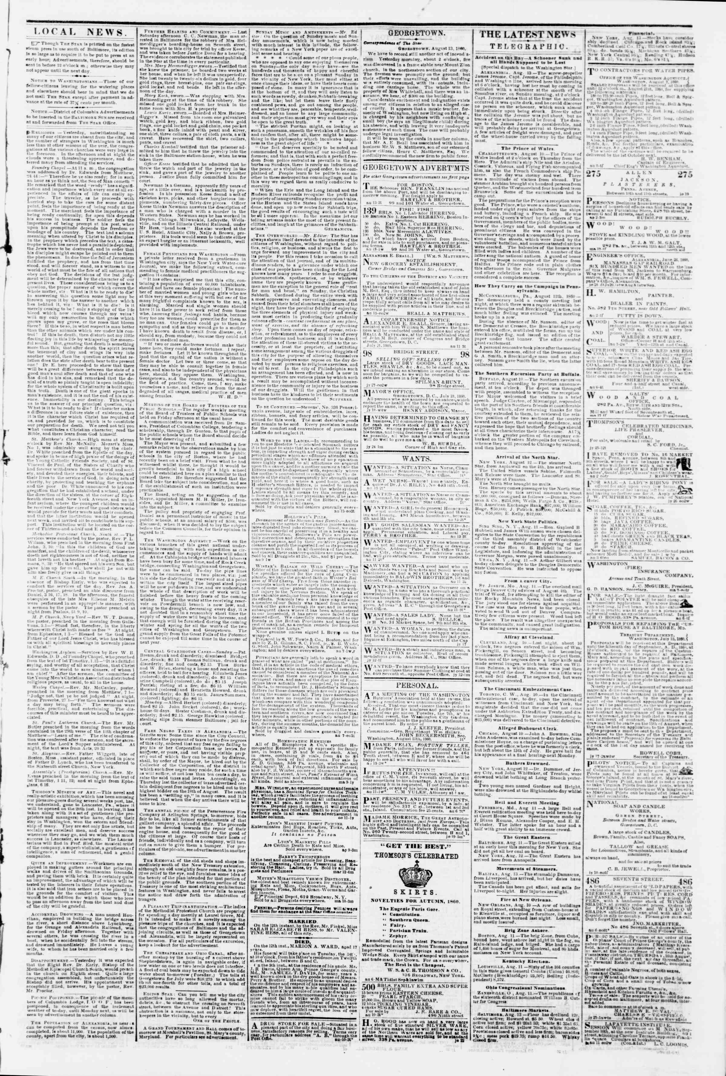 Newspaper of Evening Star dated August 13, 1860 Page 3
