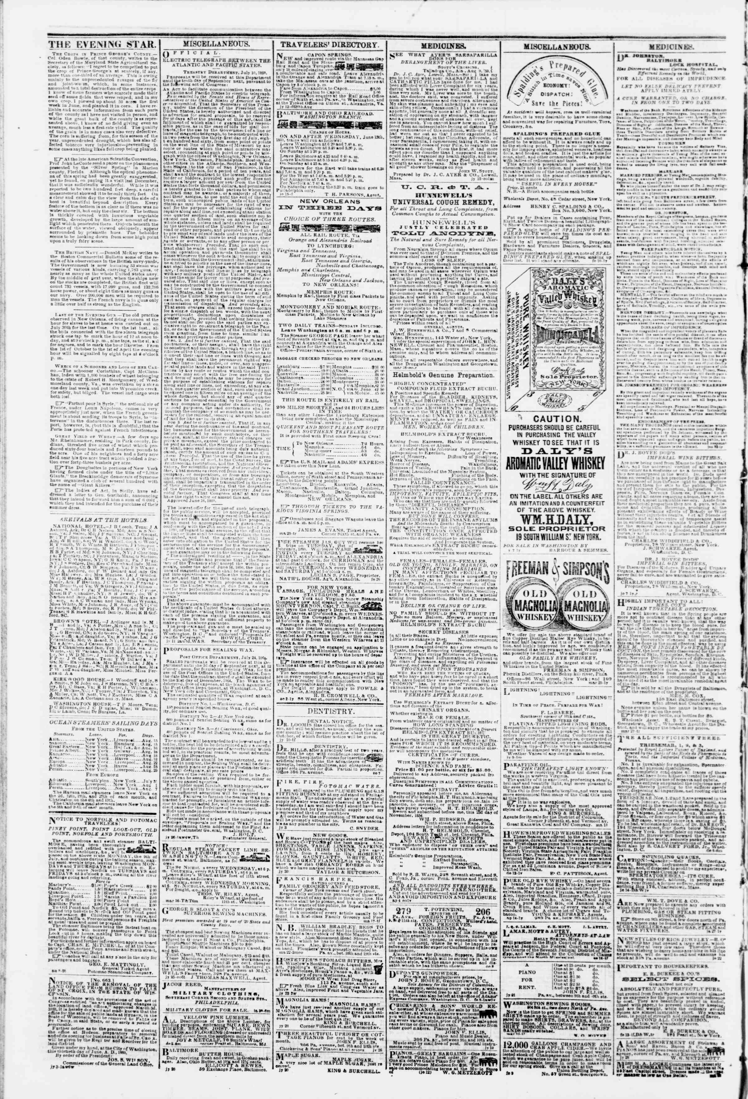 Newspaper of Evening Star dated August 13, 1860 Page 4
