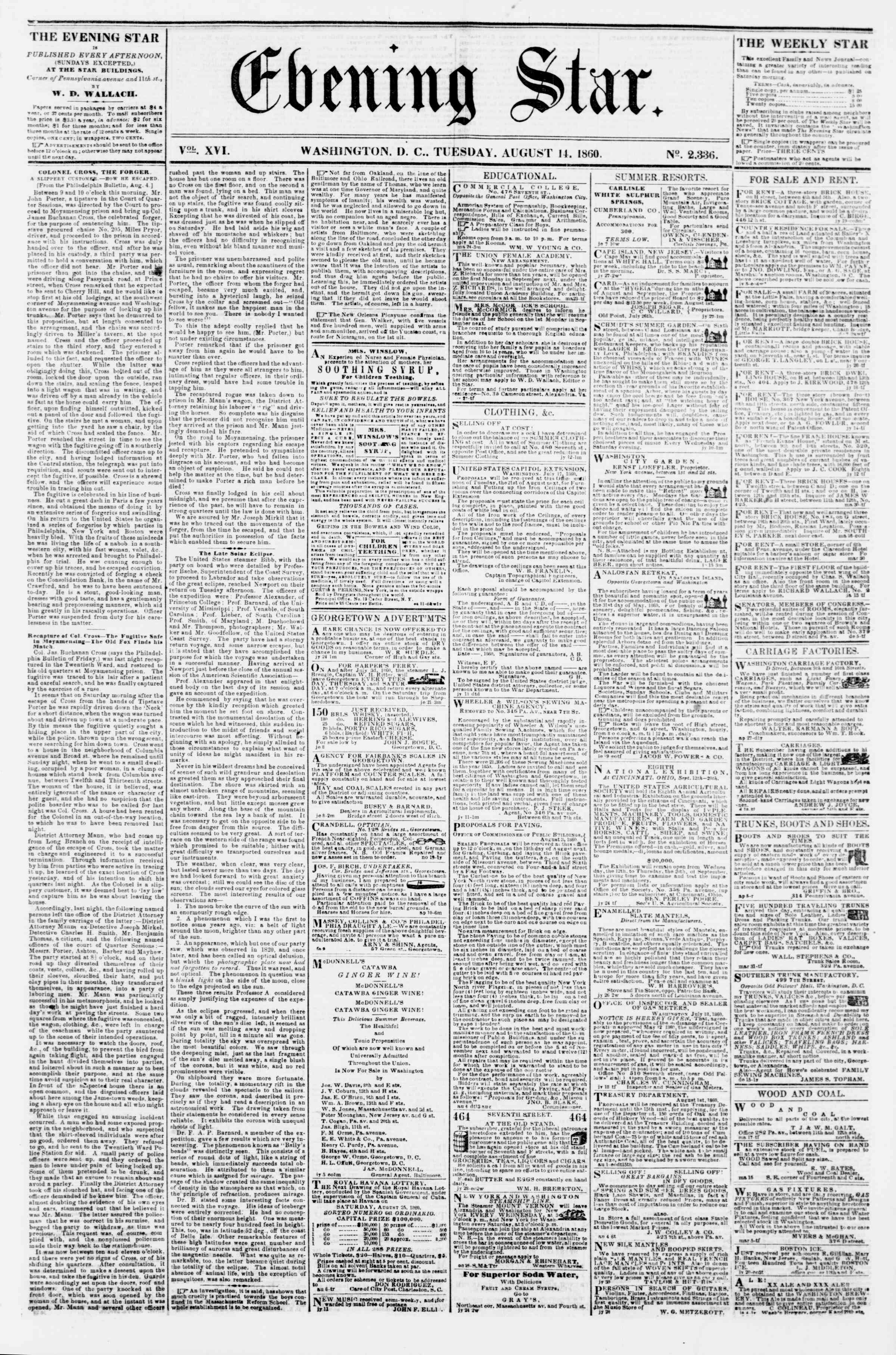 Newspaper of Evening Star dated August 14, 1860 Page 1