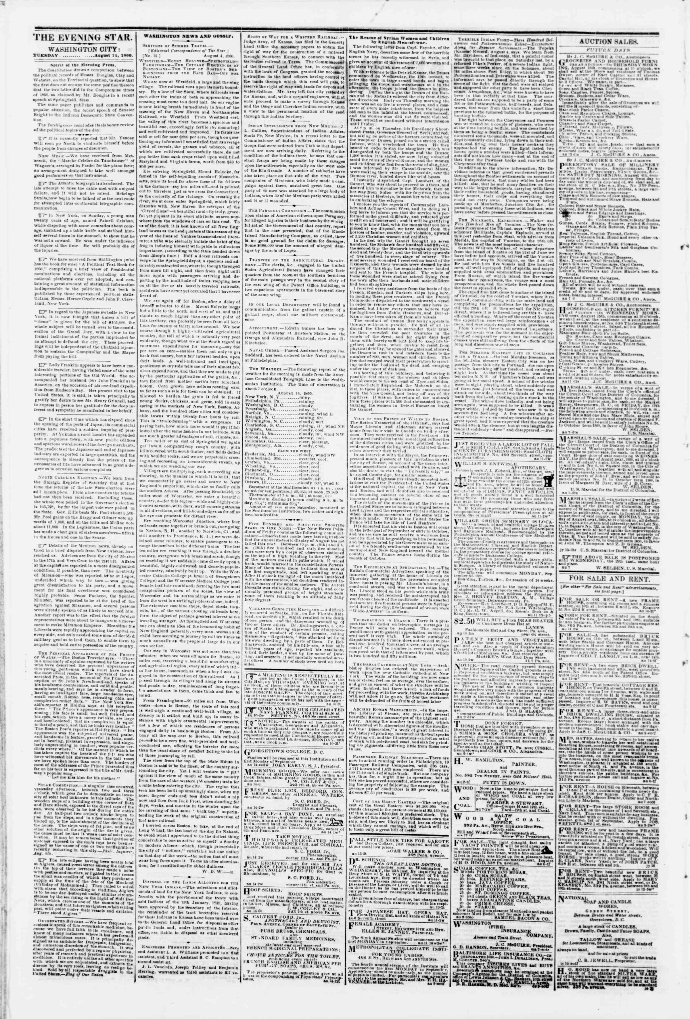 Newspaper of Evening Star dated August 14, 1860 Page 2