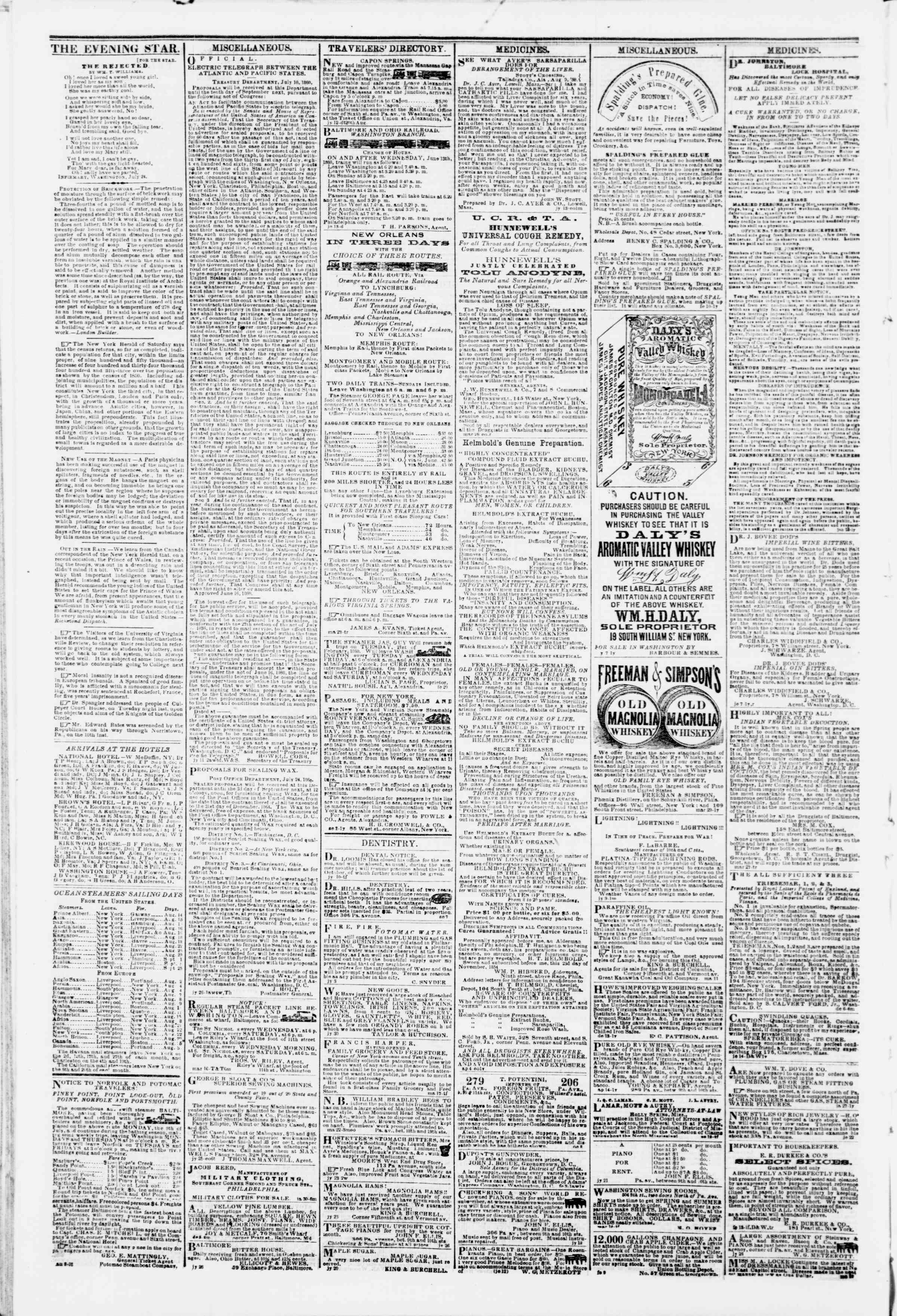 Newspaper of Evening Star dated August 14, 1860 Page 4