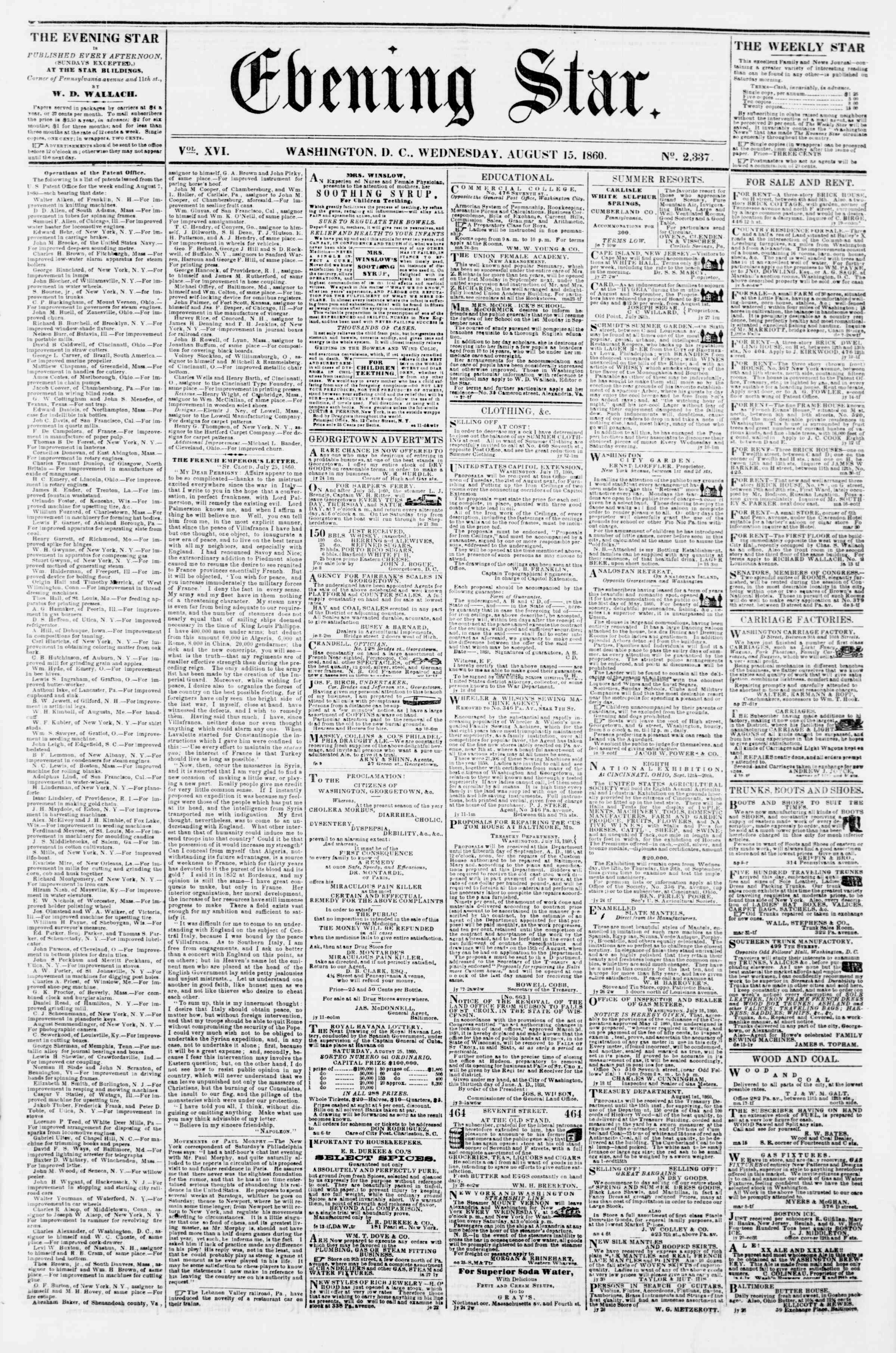 Newspaper of Evening Star dated August 15, 1860 Page 1