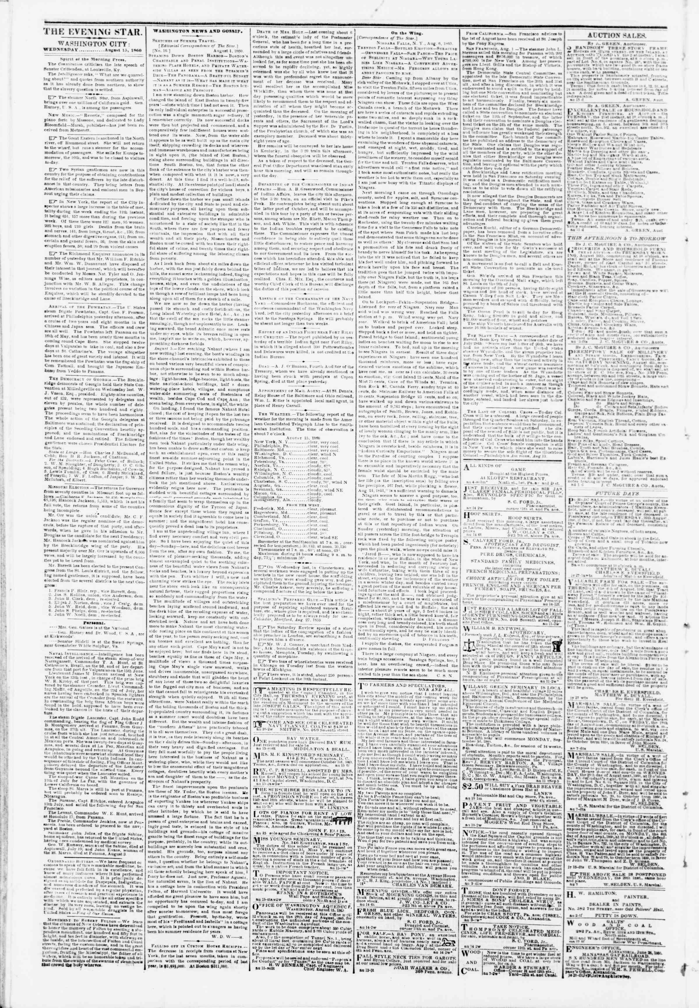 Newspaper of Evening Star dated August 15, 1860 Page 2