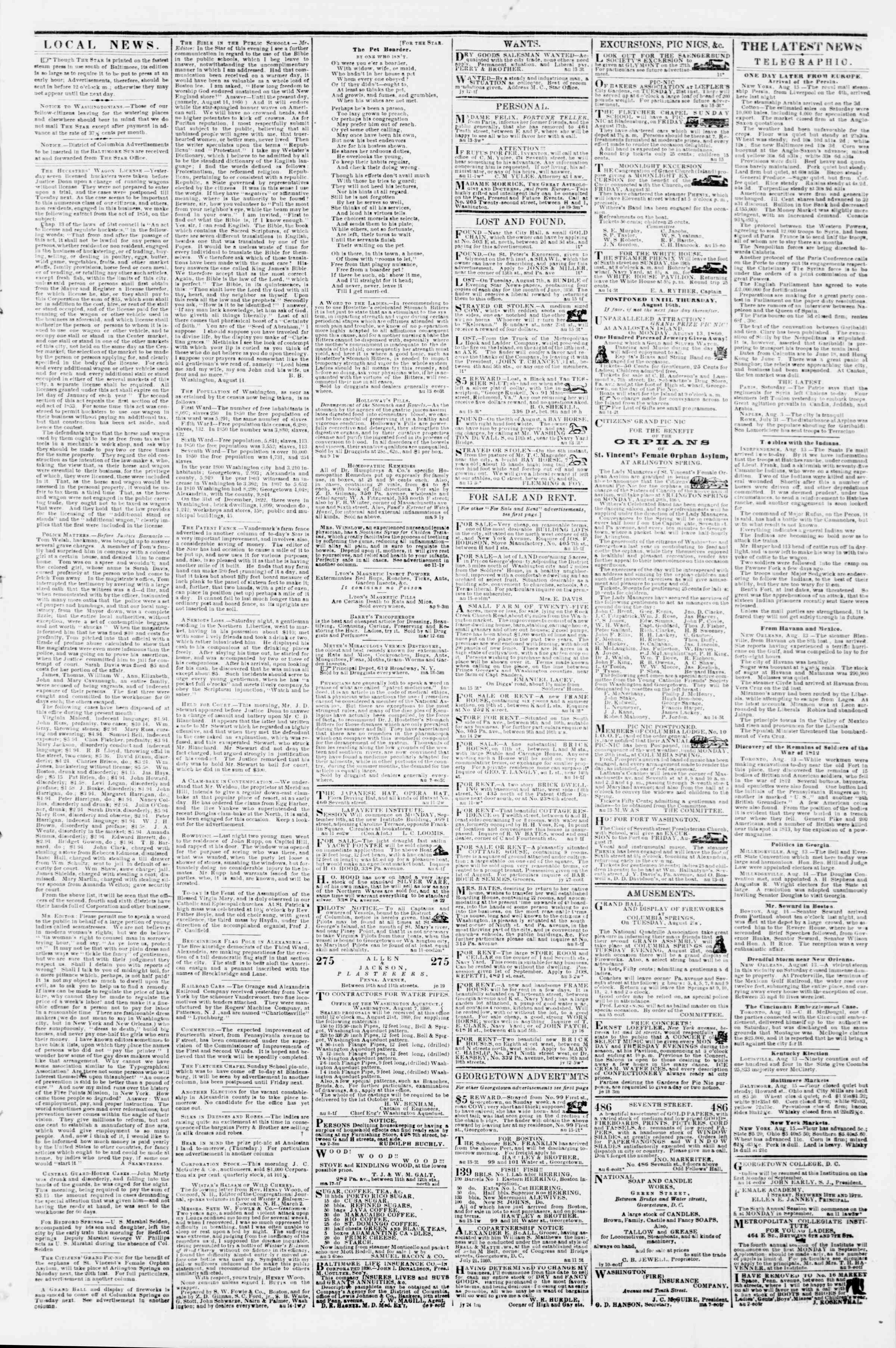 Newspaper of Evening Star dated August 15, 1860 Page 3