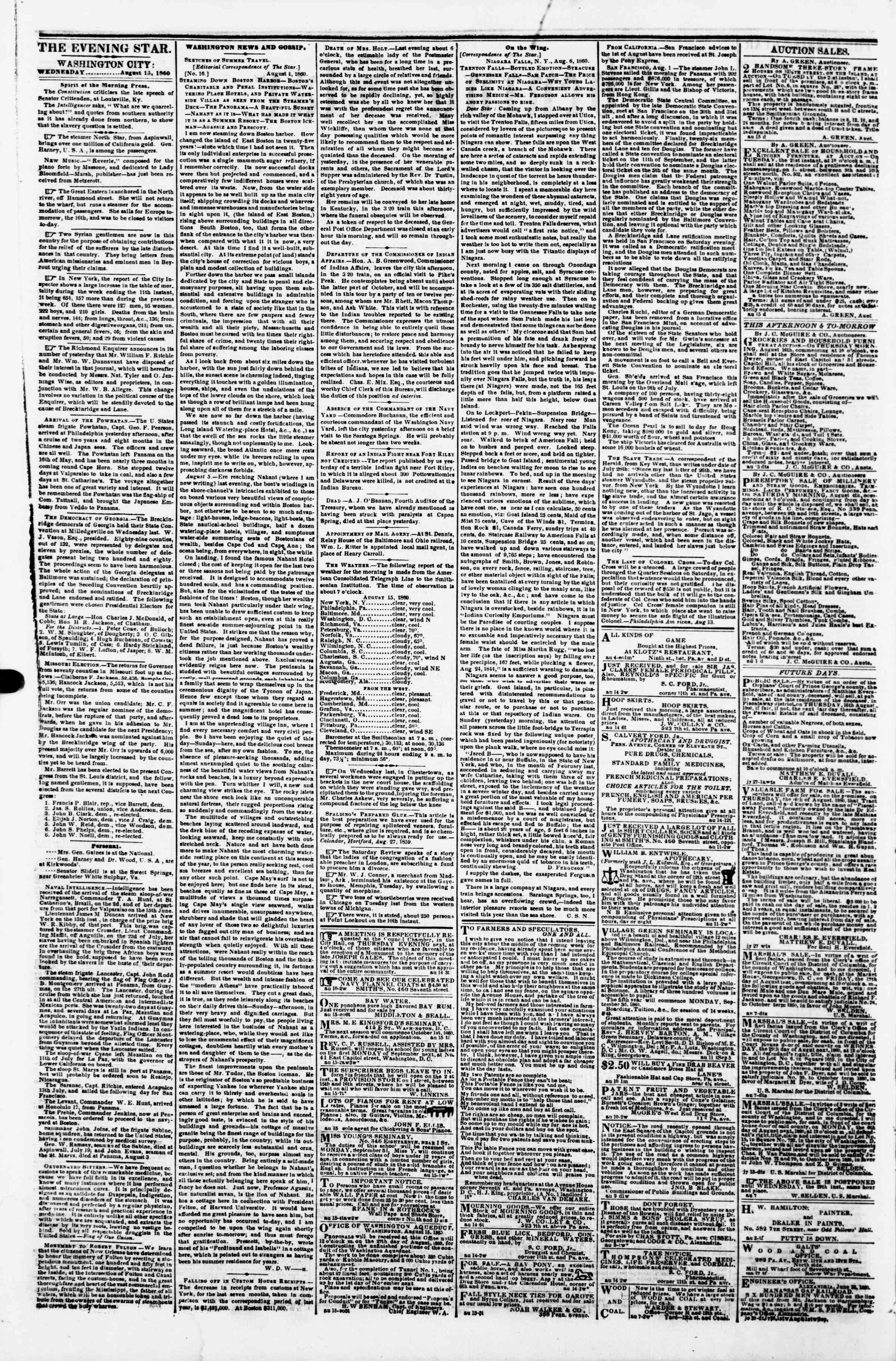 Newspaper of Evening Star dated August 15, 1860 Page 6