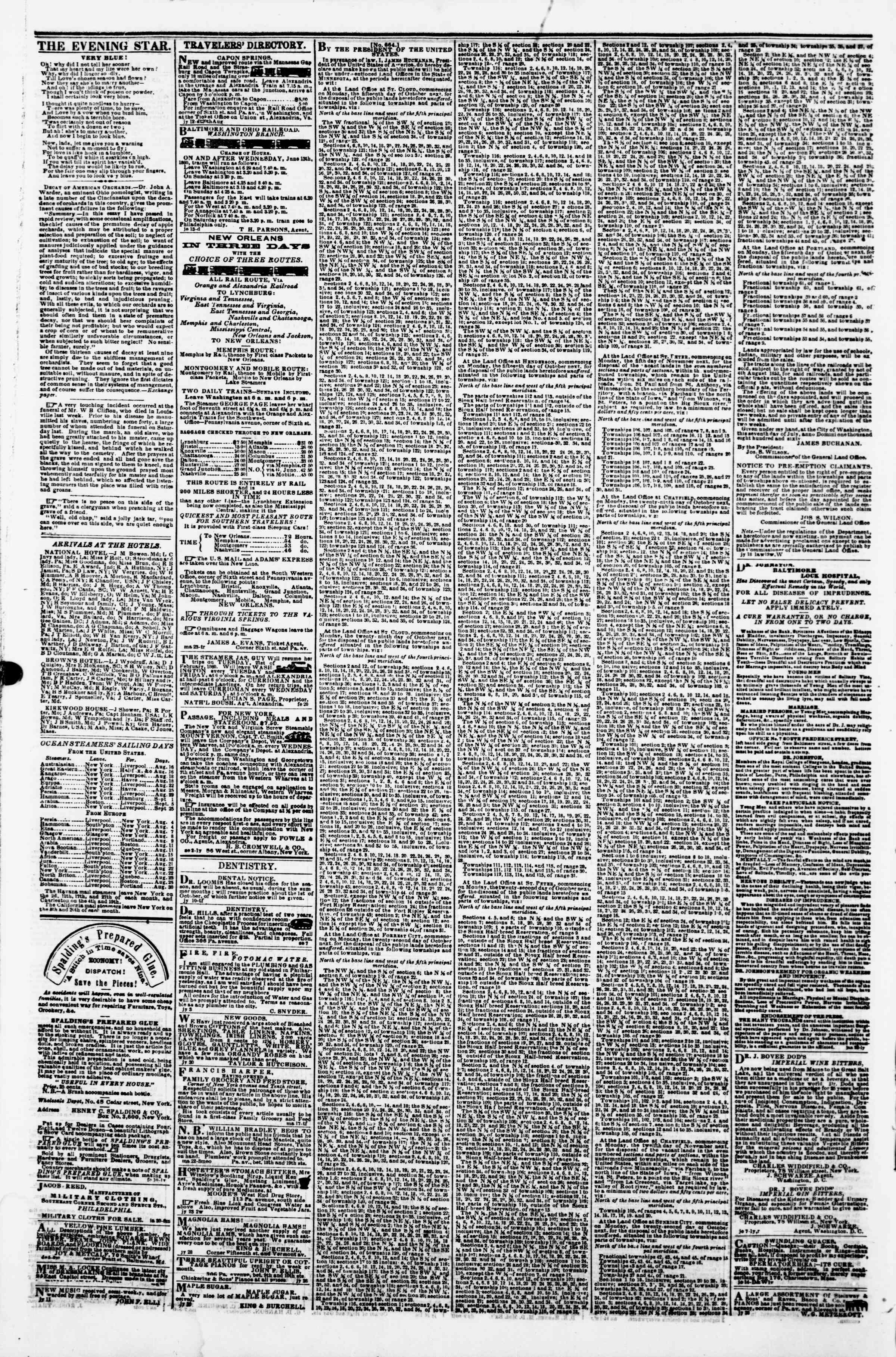 Newspaper of Evening Star dated August 15, 1860 Page 8