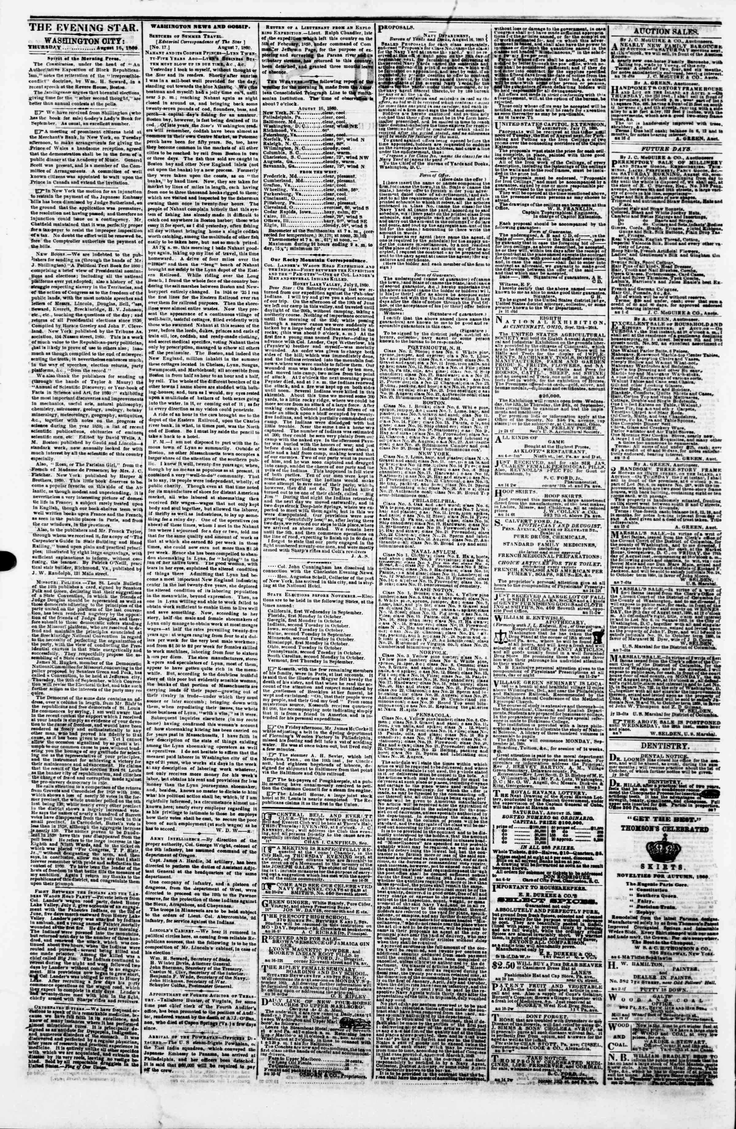 Newspaper of Evening Star dated August 16, 1860 Page 2