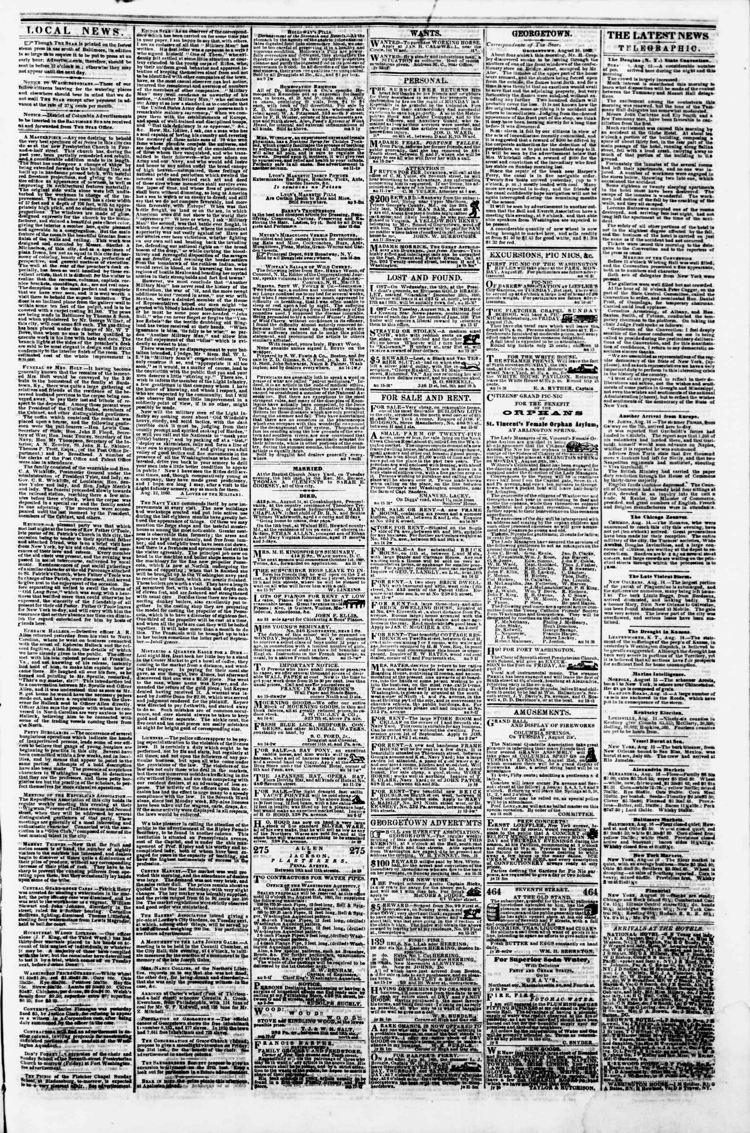 Newspaper of Evening Star dated August 16, 1860 Page 3