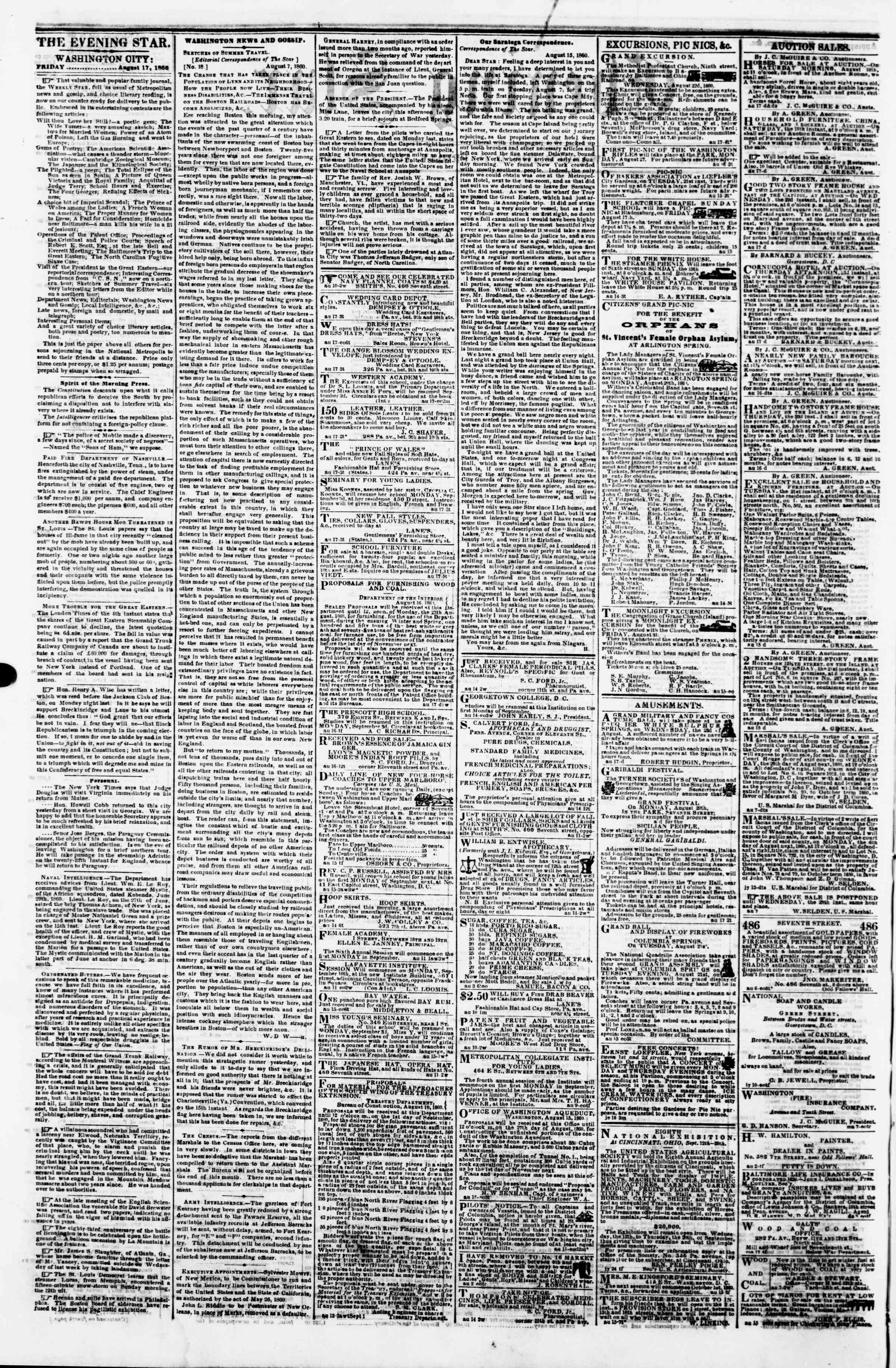 Newspaper of Evening Star dated August 17, 1860 Page 2