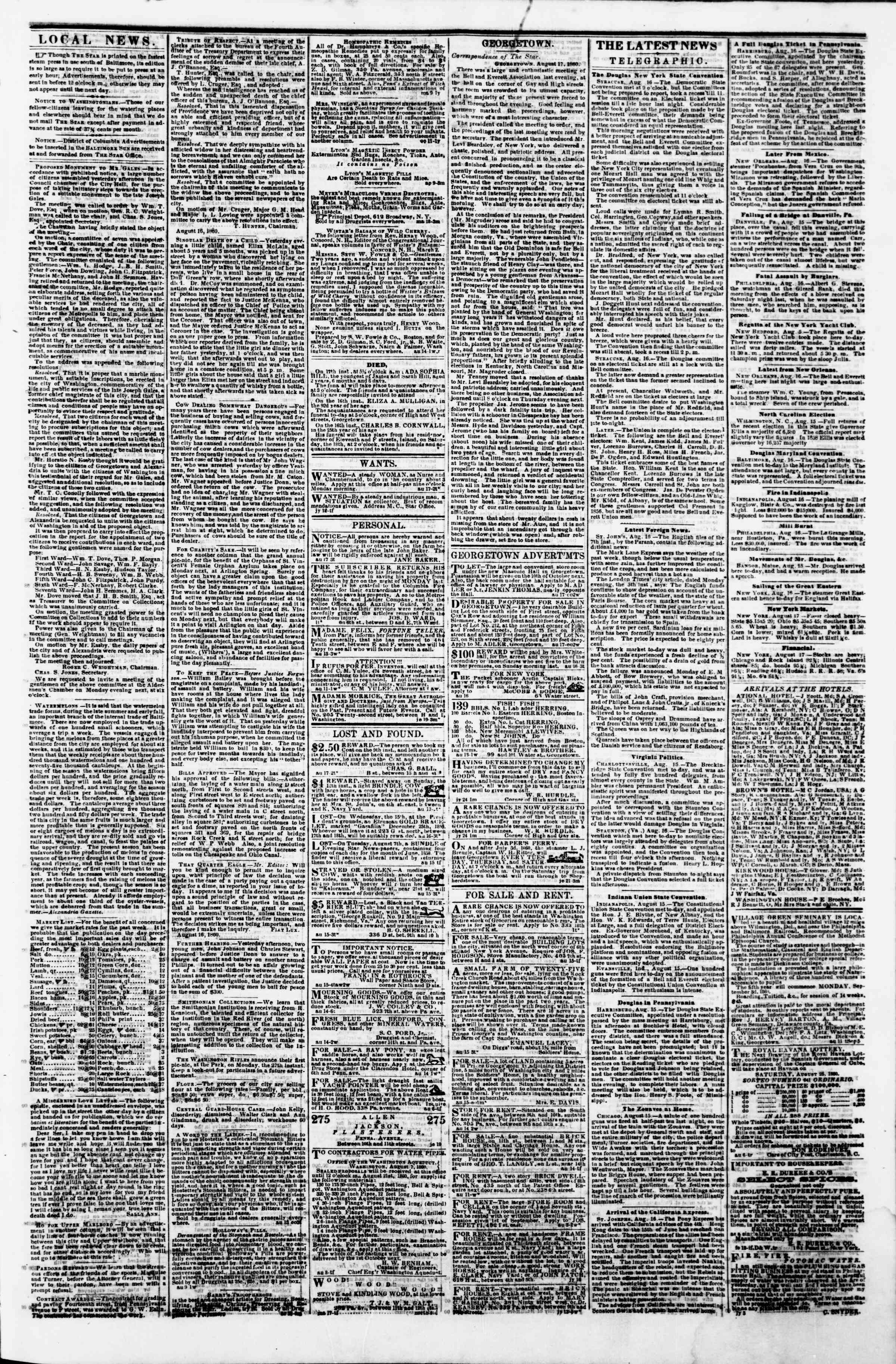 Newspaper of Evening Star dated August 17, 1860 Page 3