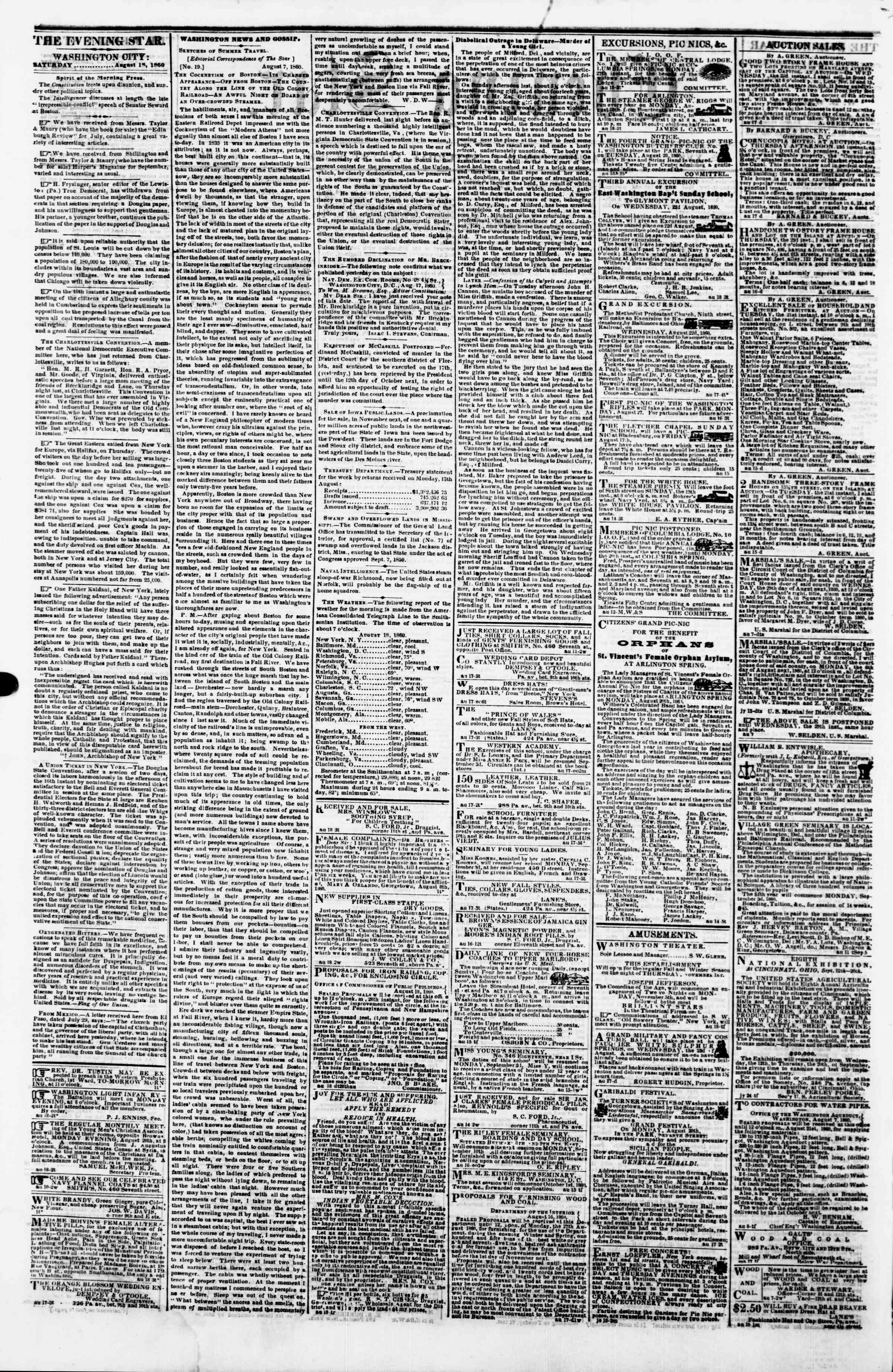 Newspaper of Evening Star dated August 18, 1860 Page 2
