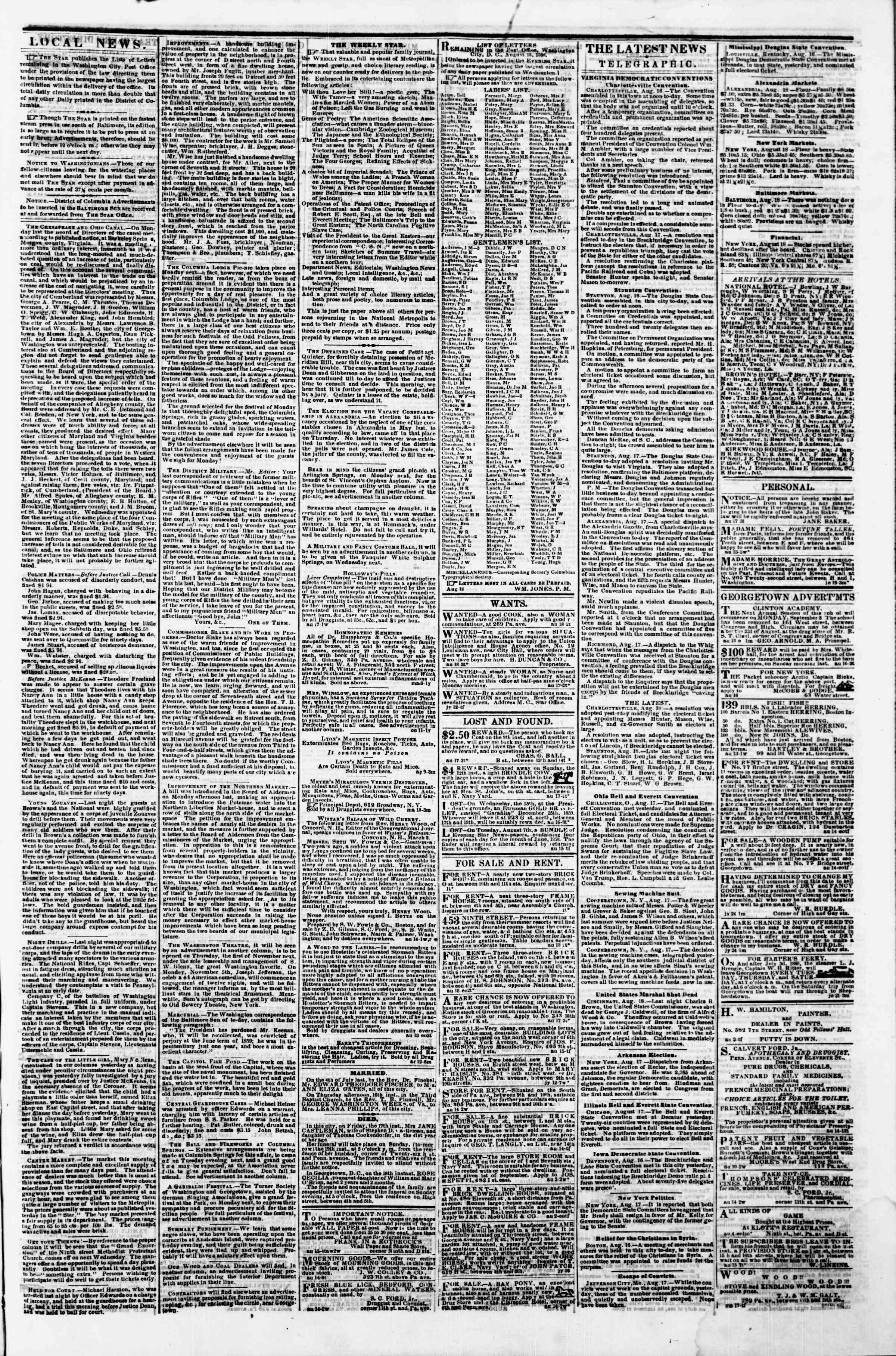 Newspaper of Evening Star dated August 18, 1860 Page 3