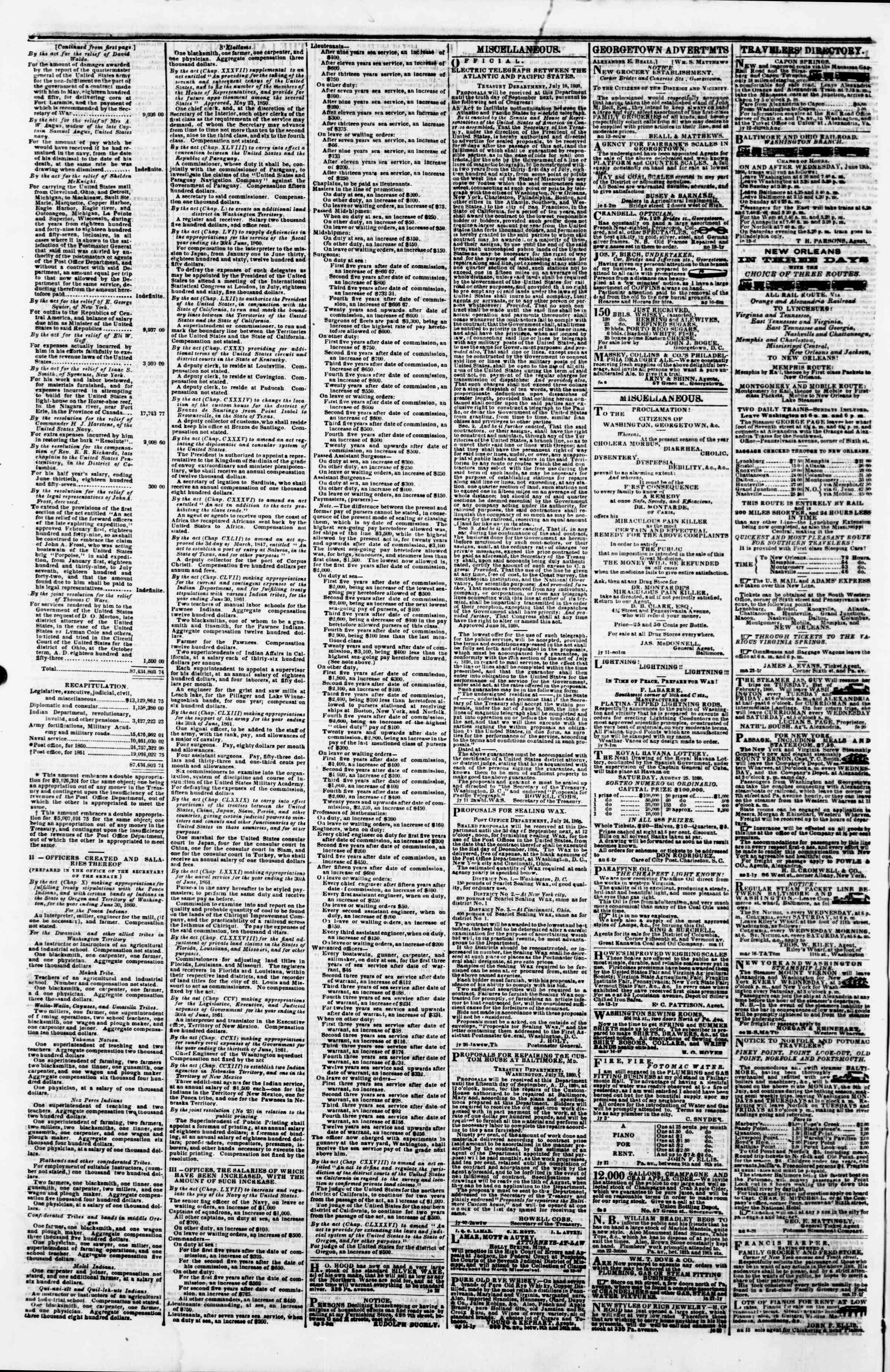 Newspaper of Evening Star dated August 18, 1860 Page 4