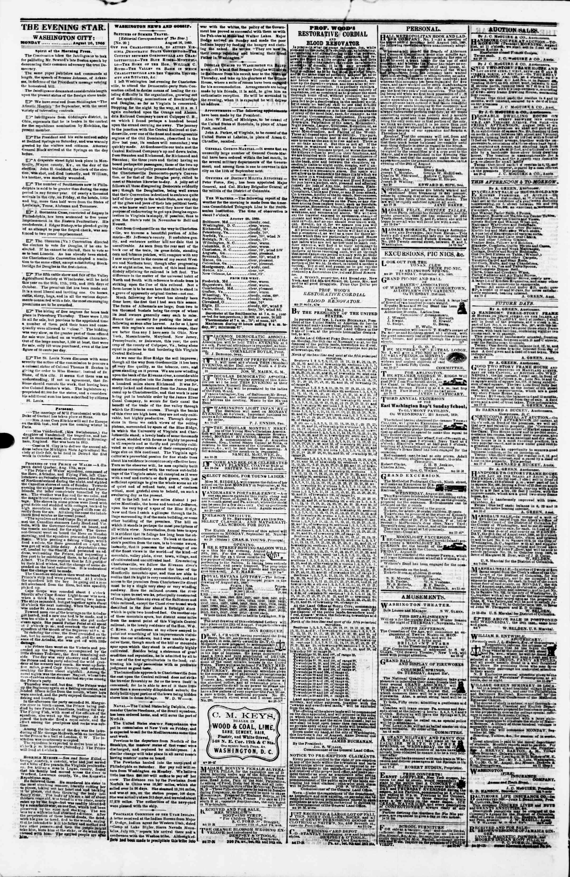 Newspaper of Evening Star dated August 20, 1860 Page 2
