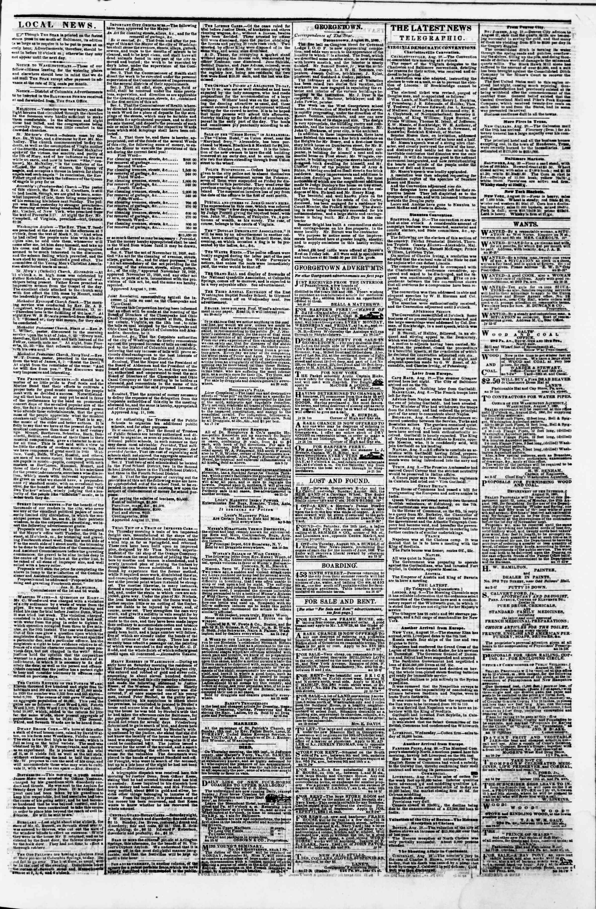 Newspaper of Evening Star dated August 20, 1860 Page 3