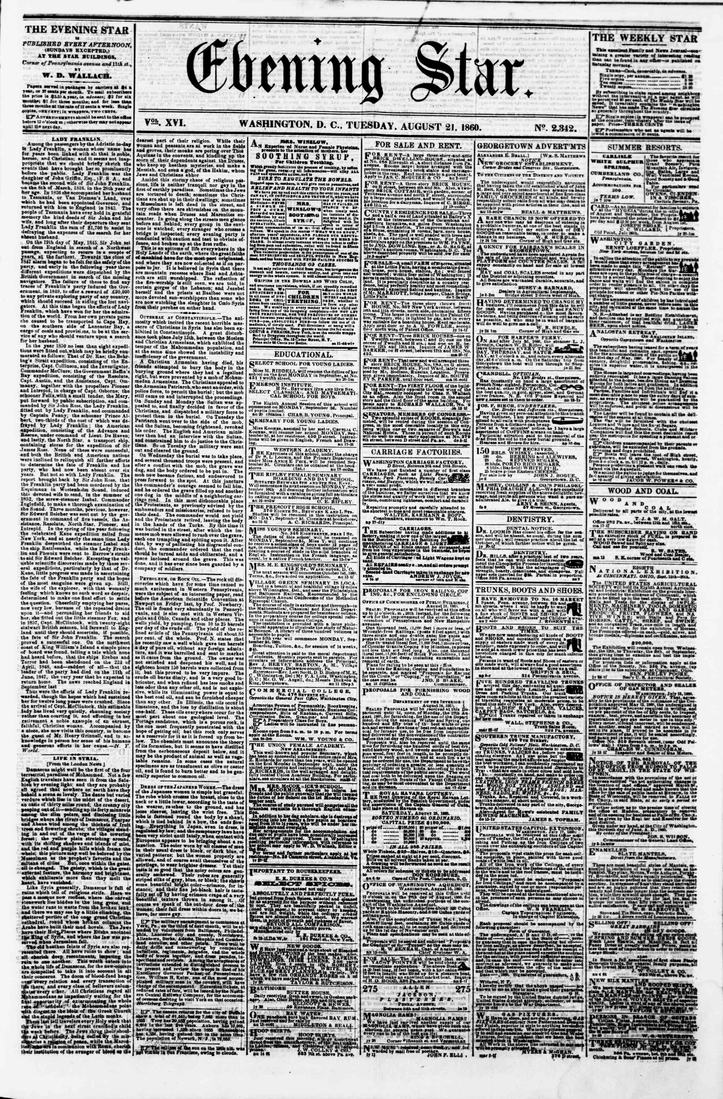 Newspaper of Evening Star dated August 21, 1860 Page 1
