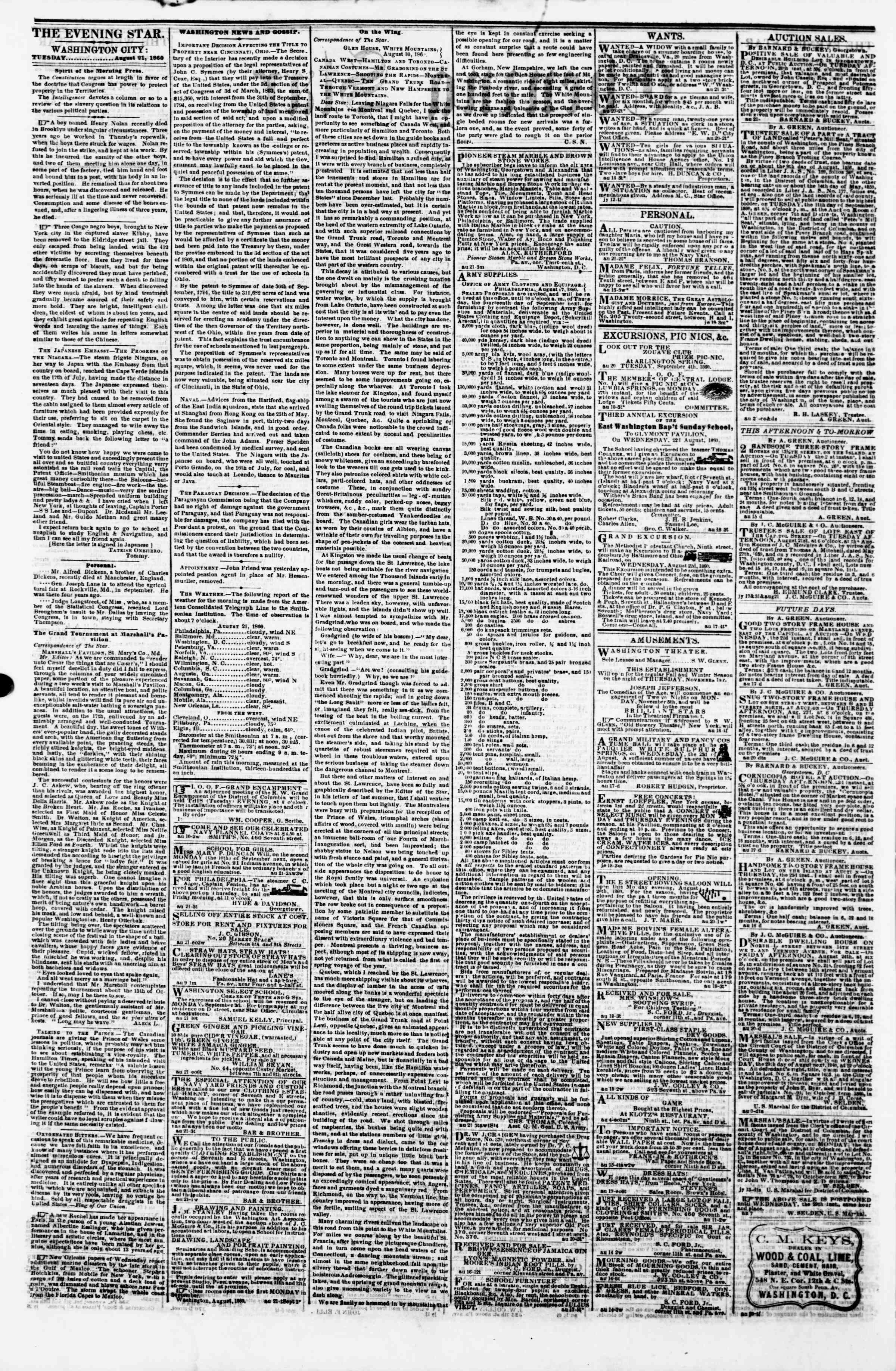 Newspaper of Evening Star dated August 21, 1860 Page 2