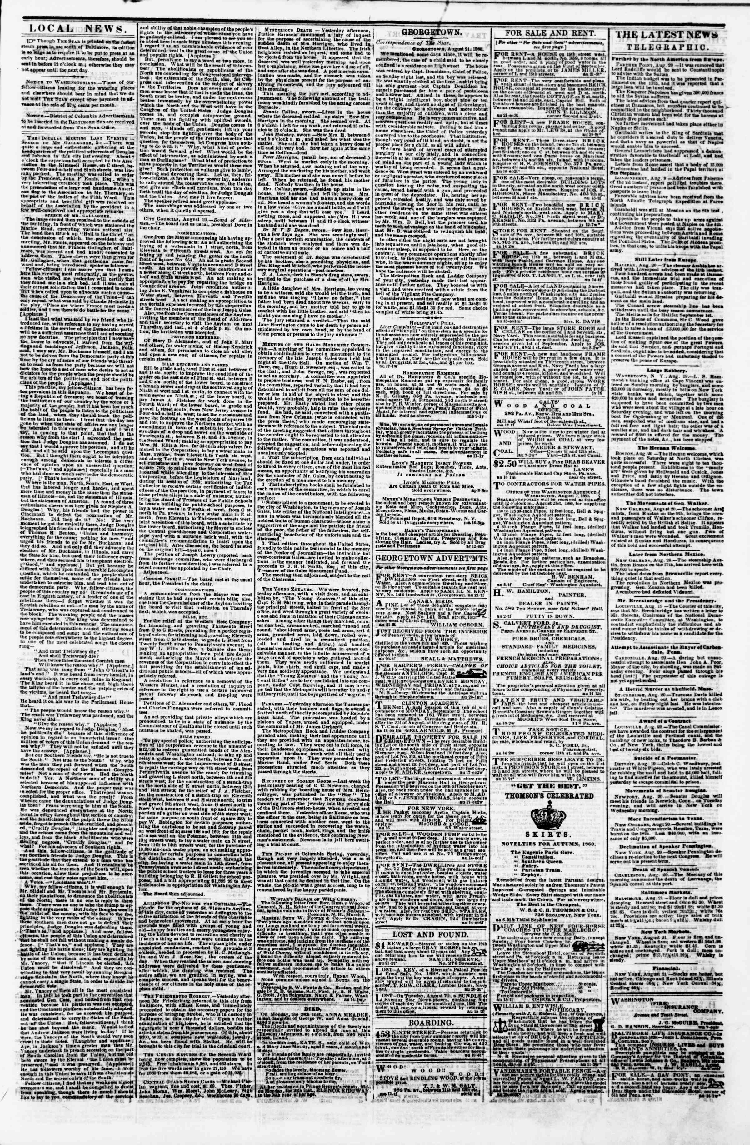Newspaper of Evening Star dated August 21, 1860 Page 3
