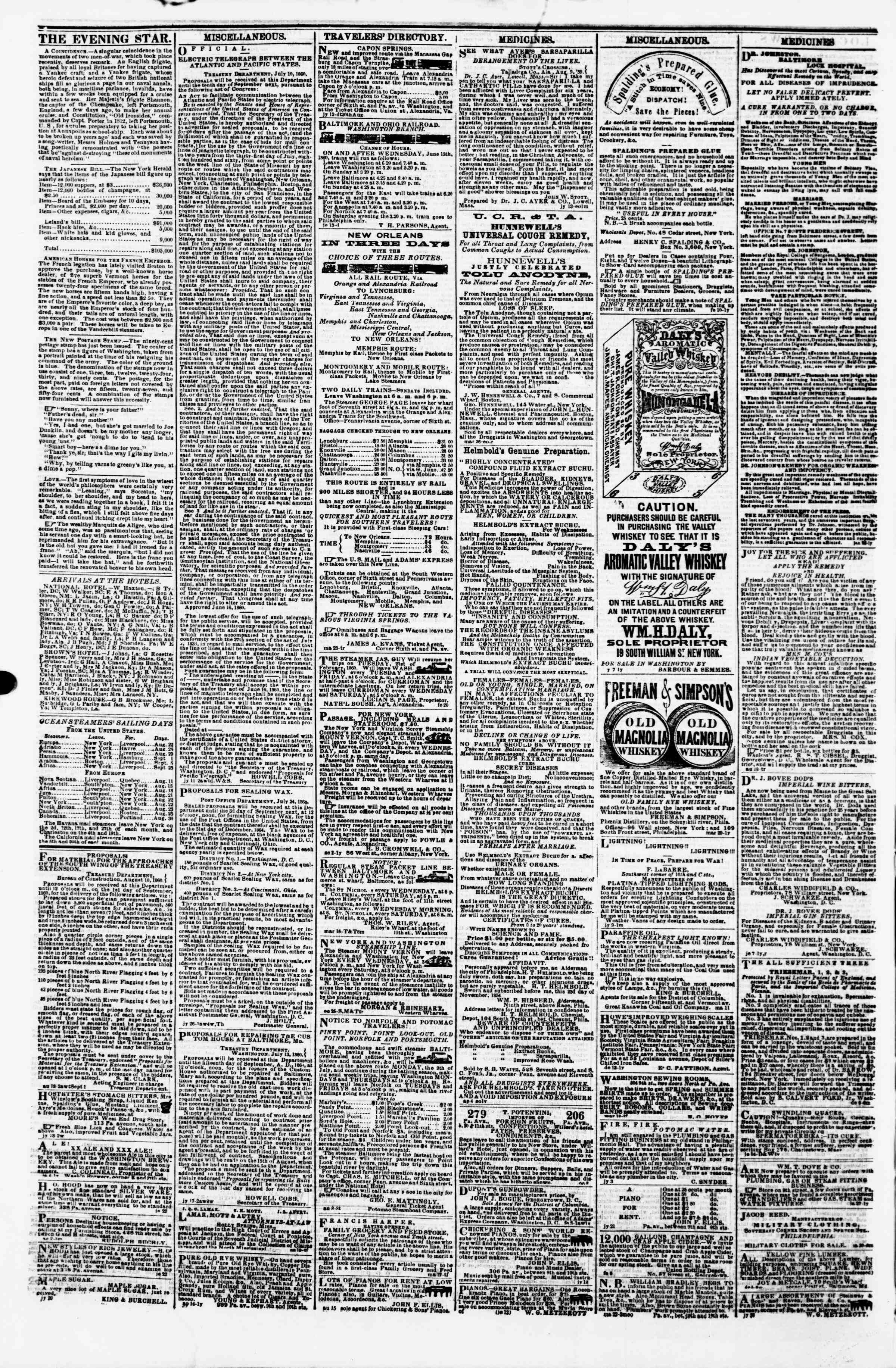 Newspaper of Evening Star dated August 21, 1860 Page 4