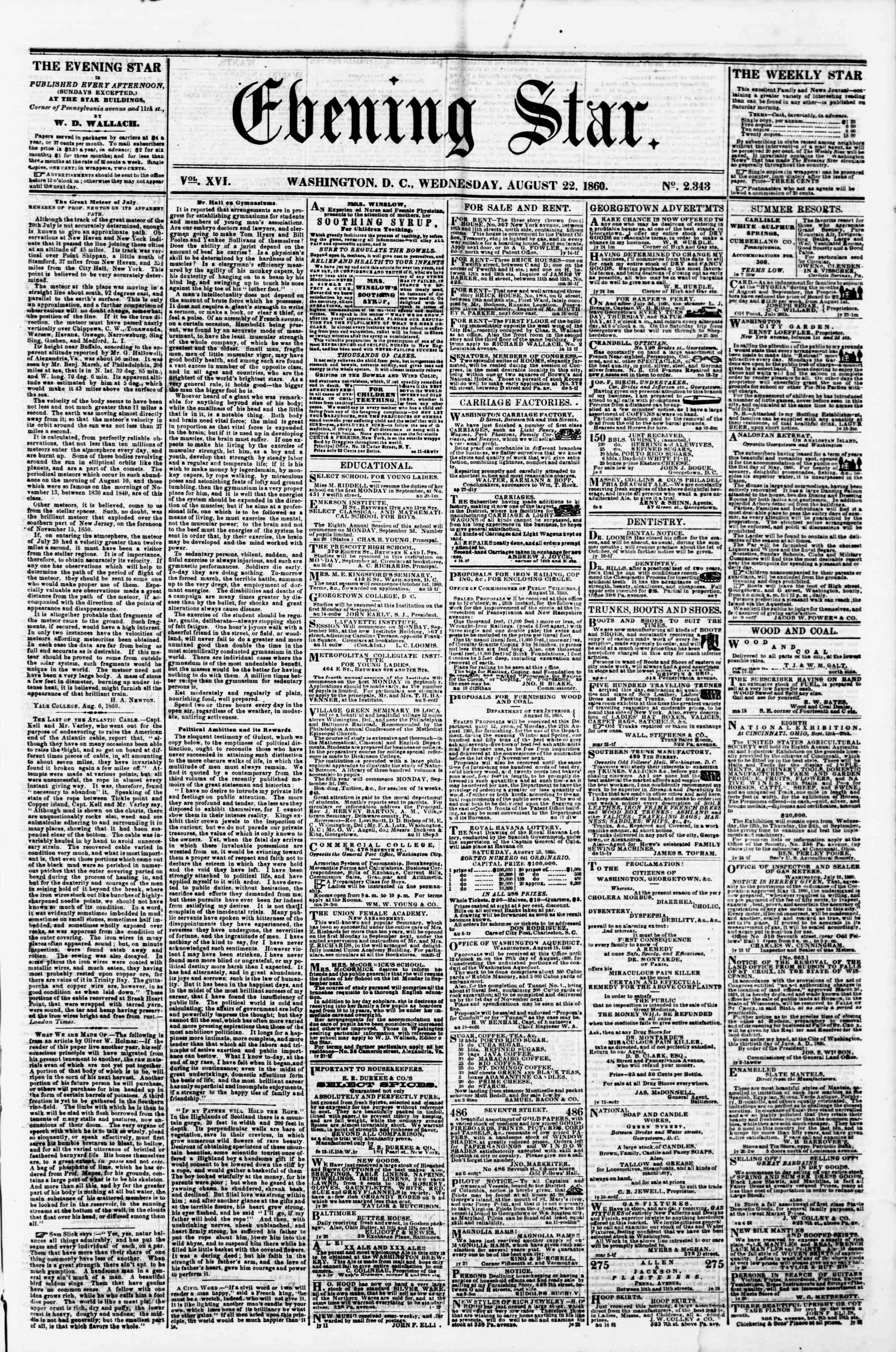 Newspaper of Evening Star dated August 22, 1860 Page 1