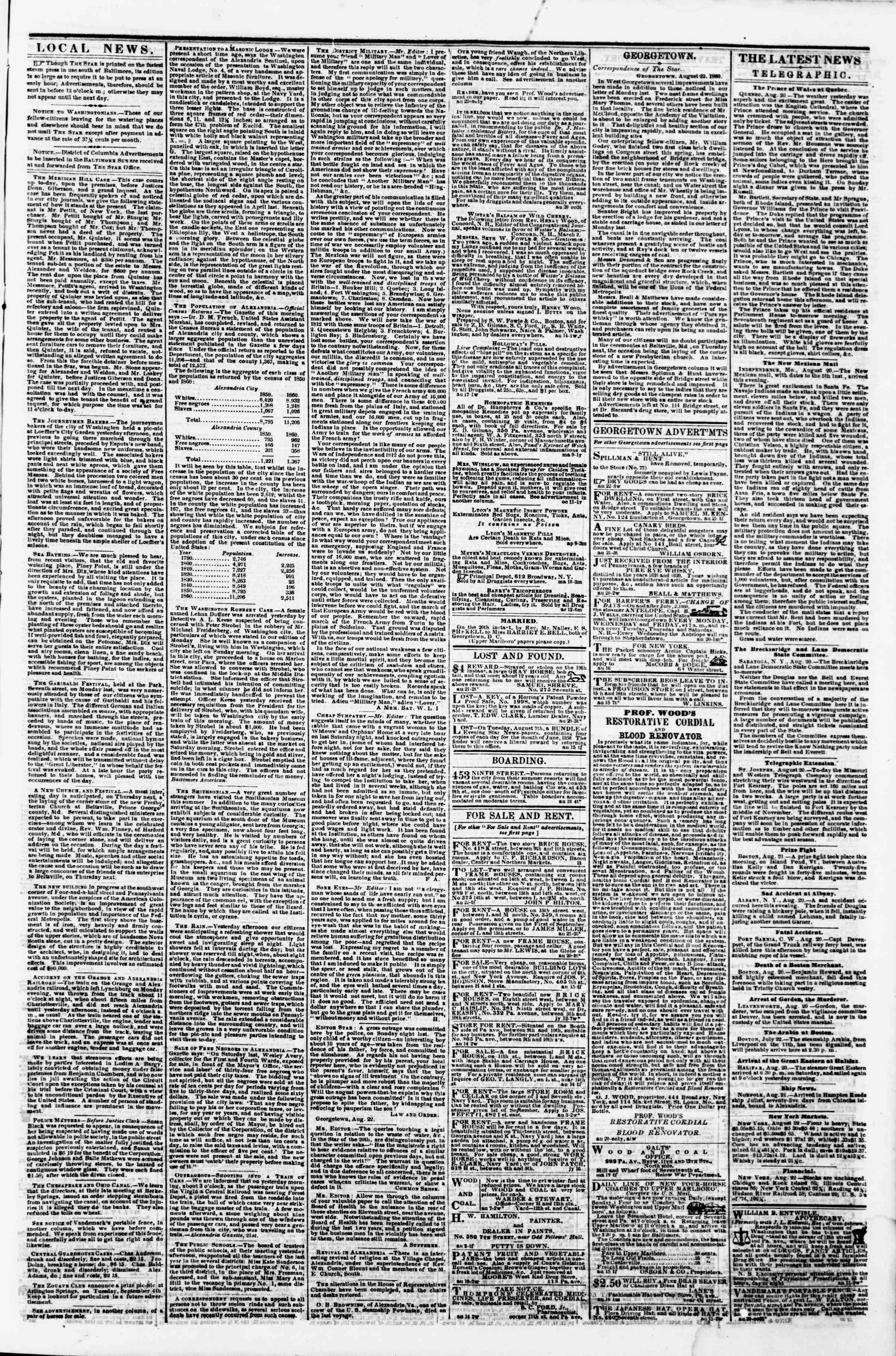 Newspaper of Evening Star dated August 22, 1860 Page 3
