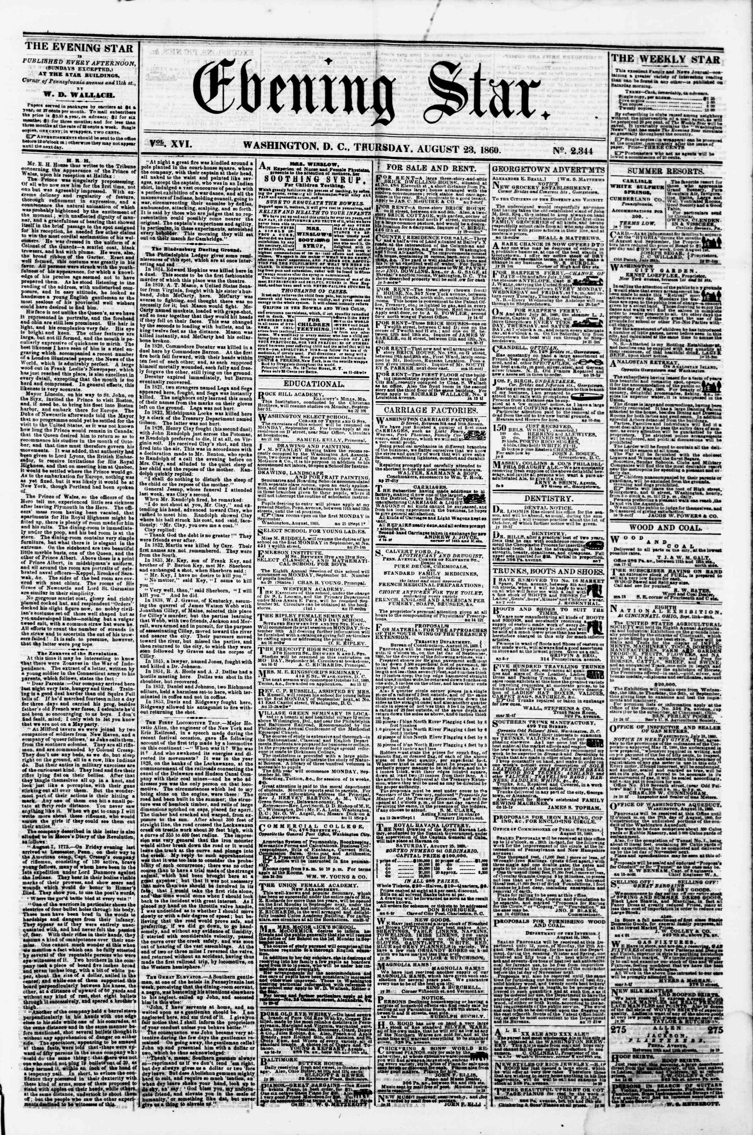 Newspaper of Evening Star dated August 23, 1860 Page 1