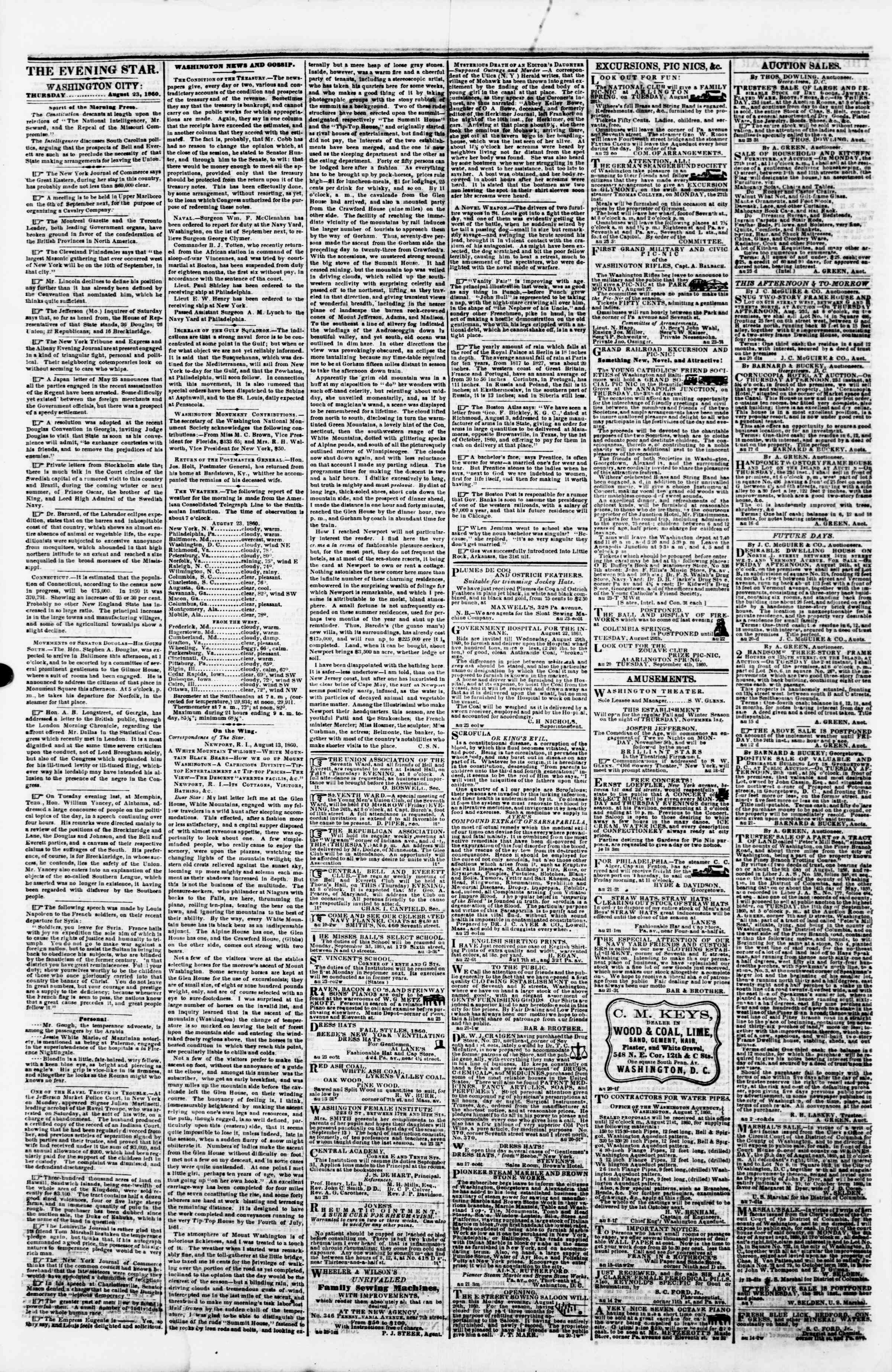 Newspaper of Evening Star dated August 23, 1860 Page 2