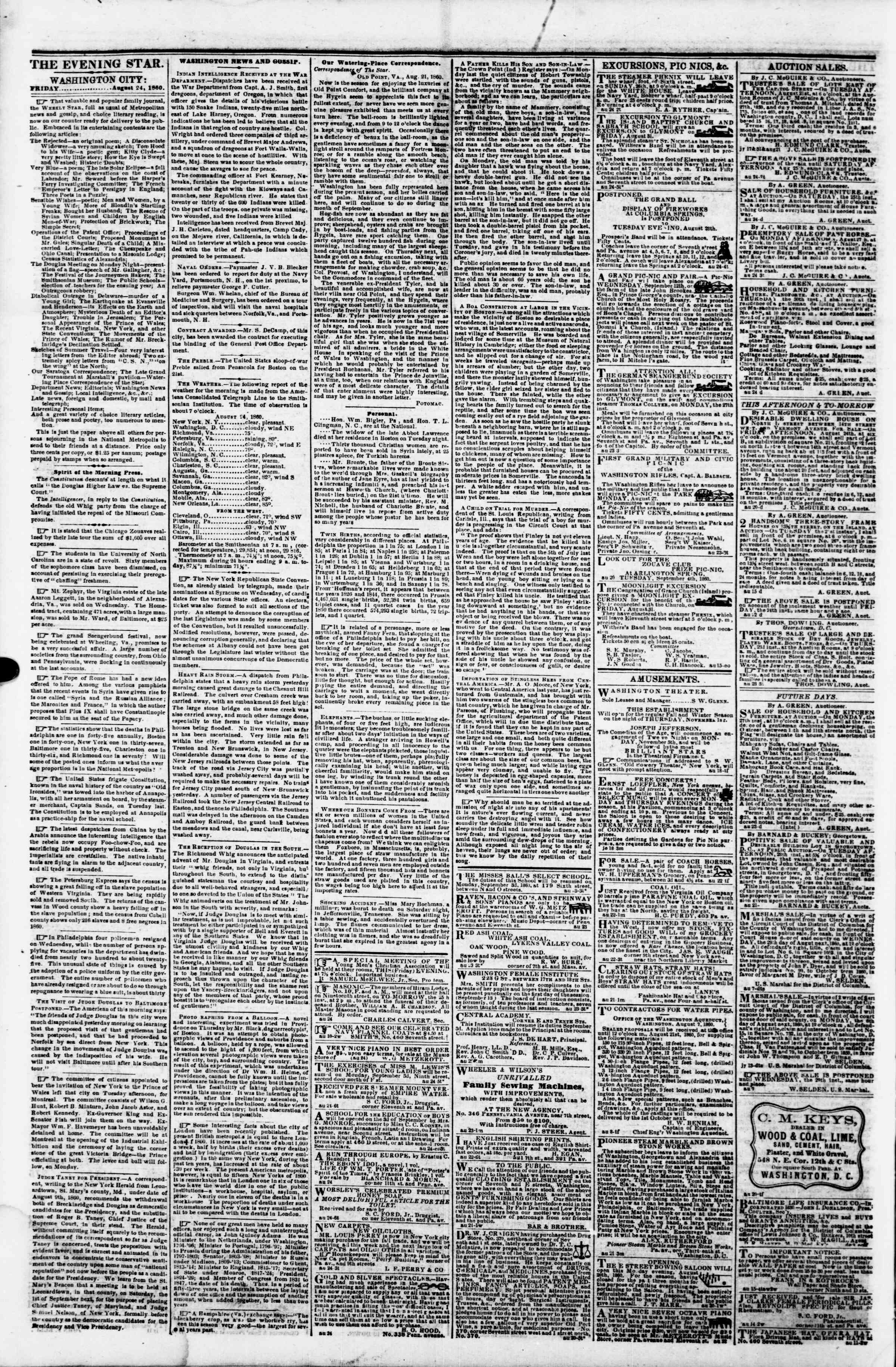 Newspaper of Evening Star dated August 24, 1860 Page 2