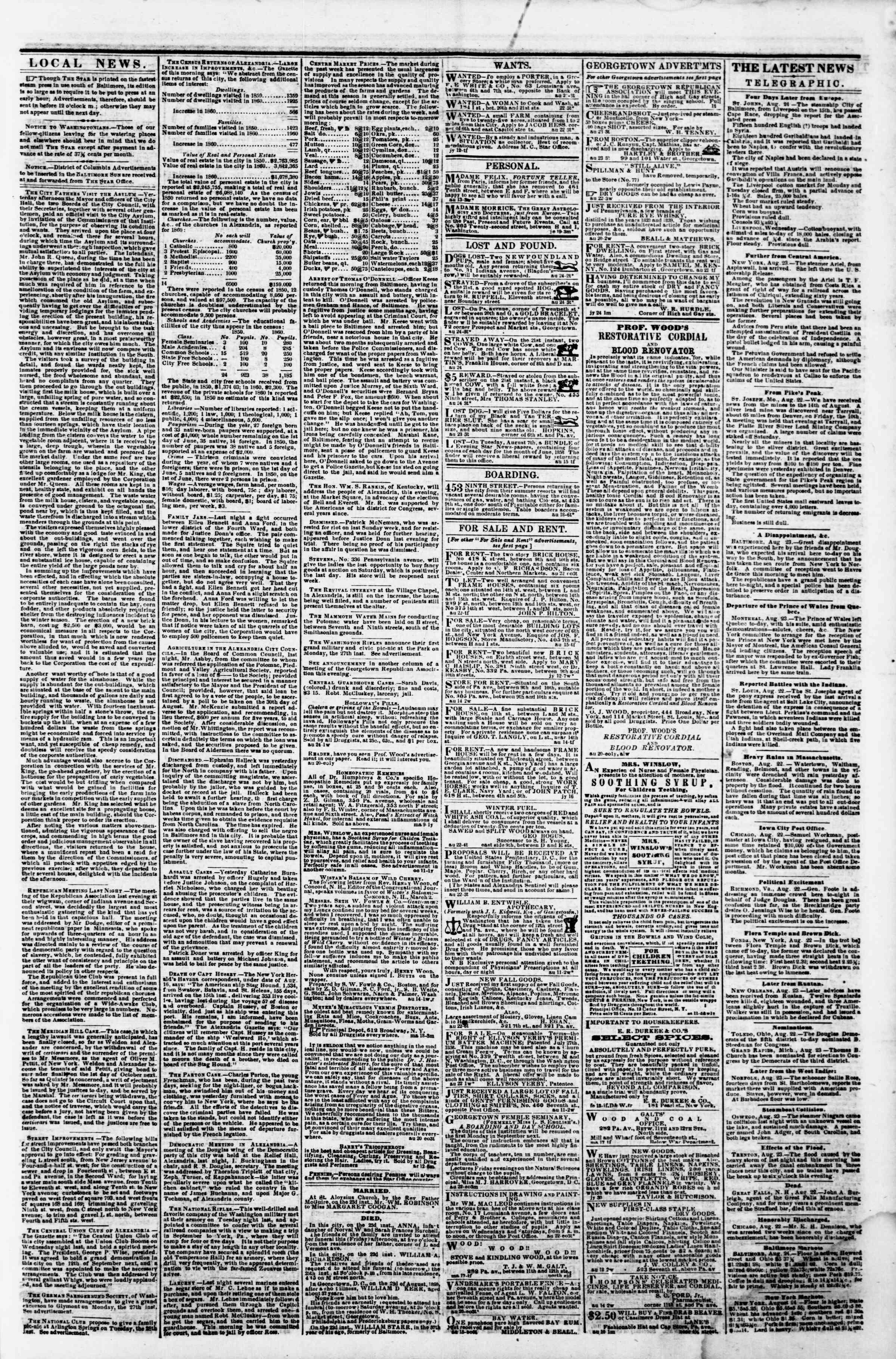 24 Ağustos 1860 tarihli Evening Star Gazetesi Sayfa 3