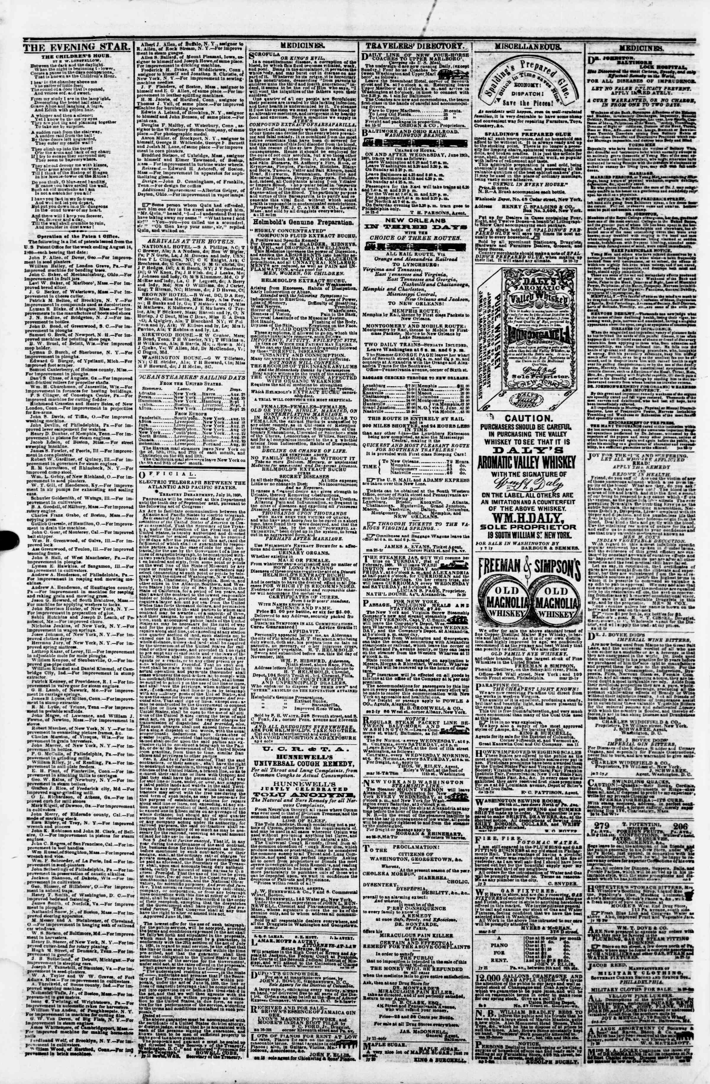 Newspaper of Evening Star dated August 24, 1860 Page 4