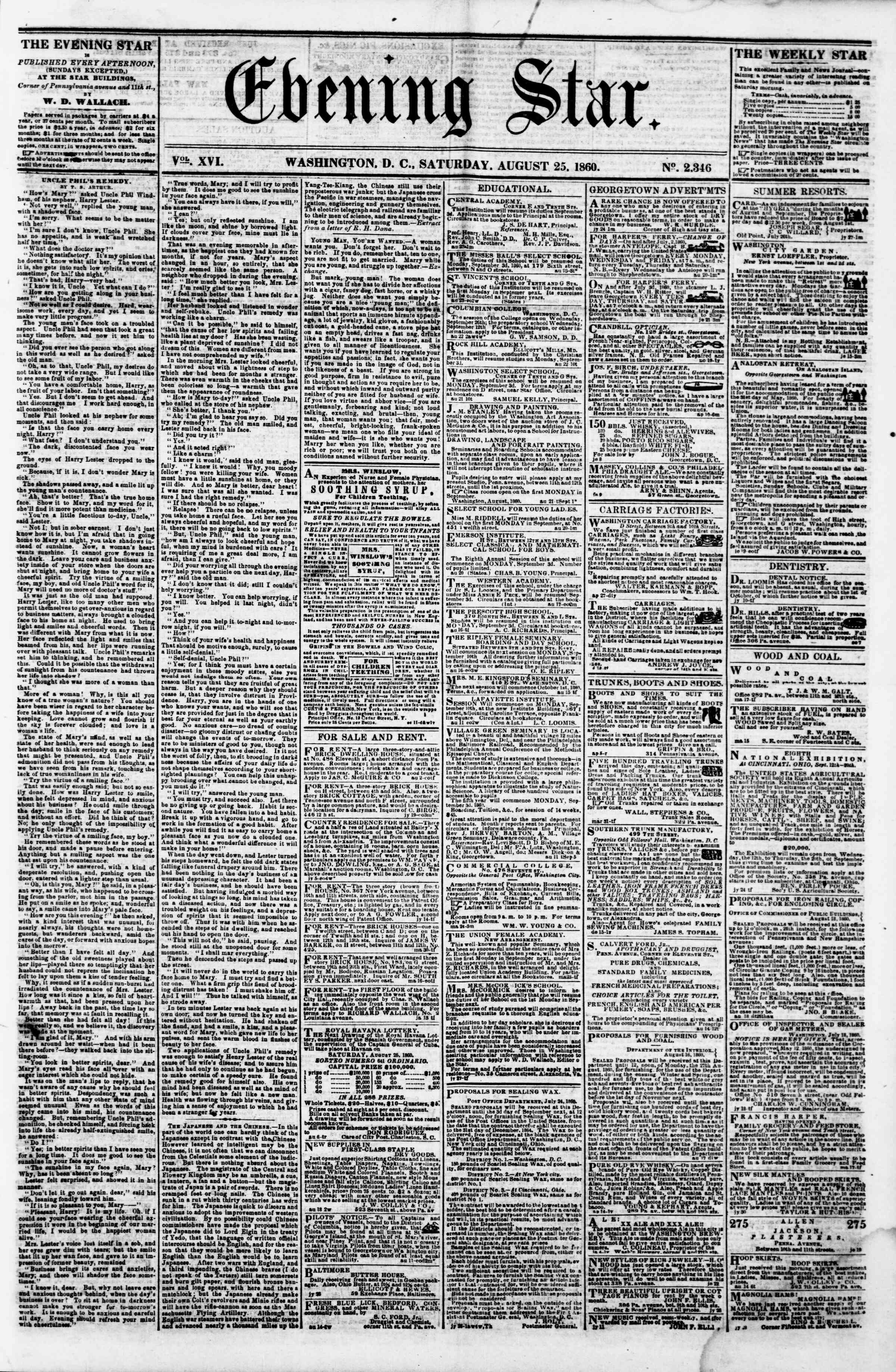 Newspaper of Evening Star dated August 25, 1860 Page 1
