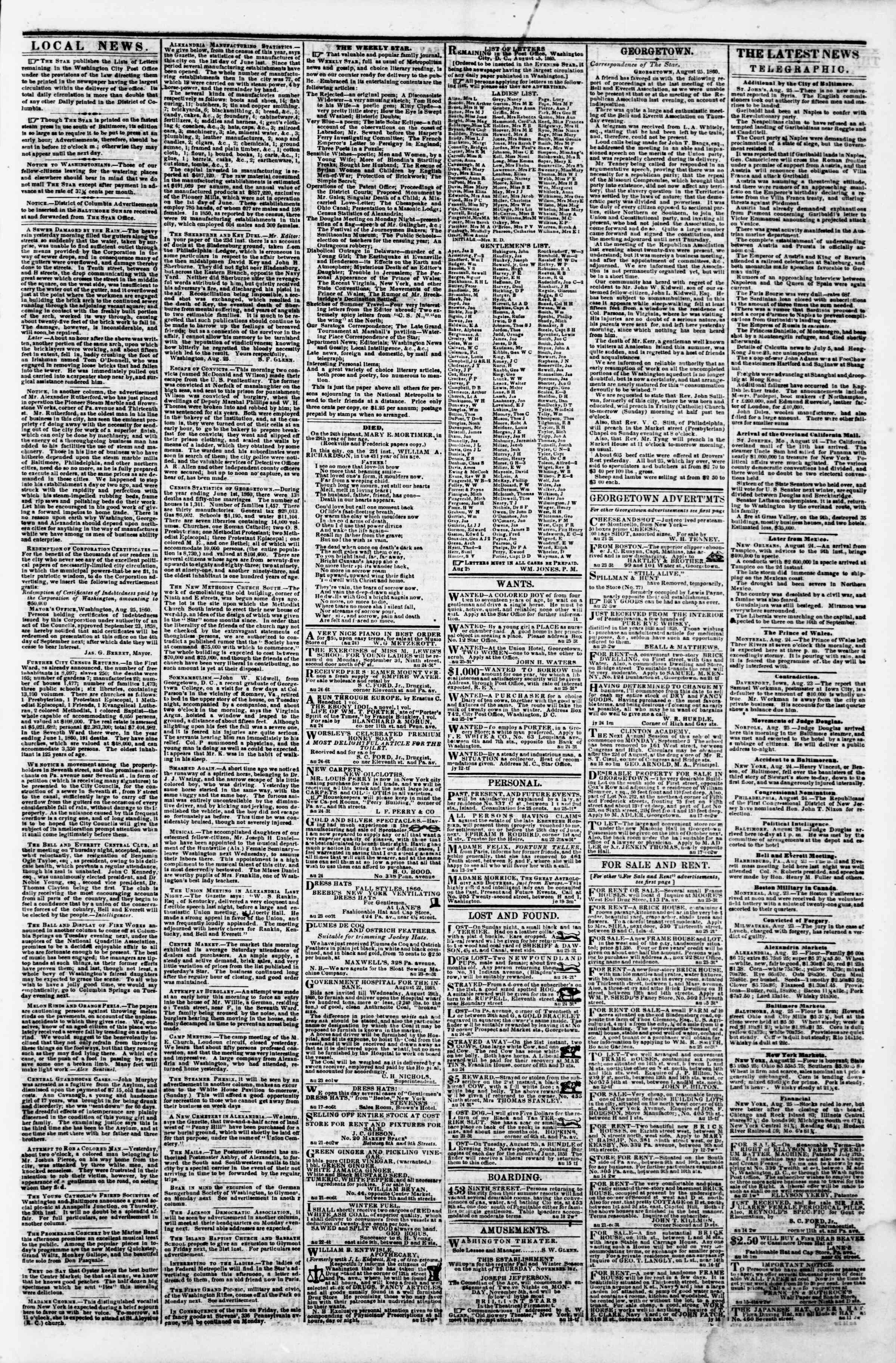 Newspaper of Evening Star dated August 25, 1860 Page 3